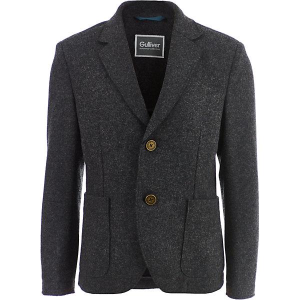 Пиджак Gulliver для мальчикаКостюмы и пиджаки<br>Характеристики товара:<br><br>• цвет: серый;<br>• состав: 73% полиэстер, 27% шерсть;<br>• подкладка: 50% полиэстер, 50% вискоза;<br>• сезон: демисезон;<br>• особенности: на подкладке;<br>• застежки: пуговицы;<br>• два накладных кармана;<br>• коллекция: Сахалин;<br>• страна бренда: Россия;<br>• страна изготовитель: Китай.<br><br>Купить пиджак в стиле casual - непростая задача. Часто, детские пиджаки лишь отдаленно напоминают это изделие, но пиджак Gulliver - другое дело! Выверенные лекала, четкие пропорции, красивая комфортная посадка на фигуре делают серый пиджак стильным и заметным элементом образа. С джинсами и рубашкой пиджак составит классный комплект, а с брюками из серого сукна он будет смотреться модным костюмом.<br><br>Пиджак Gulliver (Гулливер) можно купить в нашем интернет-магазине.<br><br>Ширина мм: 356<br>Глубина мм: 10<br>Высота мм: 245<br>Вес г: 519<br>Цвет: серый<br>Возраст от месяцев: 72<br>Возраст до месяцев: 84<br>Пол: Мужской<br>Возраст: Детский<br>Размер: 122,134,128,140<br>SKU: 7076989