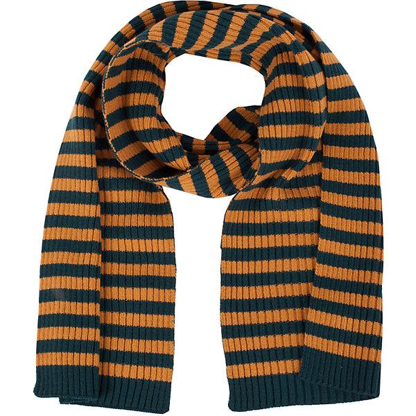 Шарф Gulliver для мальчикаШарфы, платки<br>Характеристики товара:<br><br>• цвет: оранжевый/зеленый;<br>• состав: 70% полиэстер, 30% шерсть;<br>• сезон: демисезон, зима;<br>• температурный режим: от +10 до -20С;<br>• особенности: вязаный, в полоску;<br>• коллекция: Сахалин;<br>• страна бренда: Россия;<br>• страна изготовитель: Китай.<br><br>Стильный вязаный шарф - важный элемент повседневного образа. Он защитит модника от зимней стужи, а также придаст образу завершенность.<br><br>Шарф Gulliver для мальчика (Гулливер) можно купить в нашем интернет-магазине.<br>Ширина мм: 88; Глубина мм: 155; Высота мм: 26; Вес г: 106; Цвет: белый; Возраст от месяцев: 48; Возраст до месяцев: 108; Пол: Мужской; Возраст: Детский; Размер: one size; SKU: 7077019;