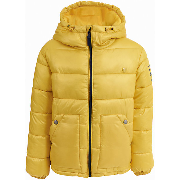 Куртка Gulliver для мальчикаДемисезонные куртки<br>Характеристики товара:<br><br>• цвет: желтый;<br>• состав: 100% полиэстер;<br>• подкладка: 100% полиэстер;<br>• утеплитель: 100% полиэстер;<br>• сезон: демисезон;<br>• температурный режим: от +10 до -15С;<br>• особенности: с капюшоном, с надписью;<br>• застежка: молния с защитой подбородка;<br>• шнурок-утяжка с кулиской по краю капюшона;<br>• гладкая подкладка из полиэстера;<br>• эластичные манжеты;<br>• капюшон не отстегивается;<br>• два кармана;<br>• коллекция: Арбитр;<br>• страна бренда: Россия;<br>• страна изготовитель: Китай.<br><br>Куртка с капюшоном для мальчика. Стильный дизайн: яркий цвет, крупный принт, брендированная нашивка на рукаве не позволят пройти мимо, не обратив на себя внимания! Удобная форма, комфортная длина, удачная конструкция модели, не препятствующая свободе движений, а также все необходимые элементы для защиты от ветра сделают куртку незаменимым атрибутом осеннего гардероба.<br><br>Куртку Gulliver (Гулливер) можно купить в нашем интернет-магазине.<br>Ширина мм: 356; Глубина мм: 10; Высота мм: 245; Вес г: 519; Цвет: желтый; Возраст от месяцев: 72; Возраст до месяцев: 84; Пол: Мужской; Возраст: Детский; Размер: 122,140,134,128; SKU: 7077073;