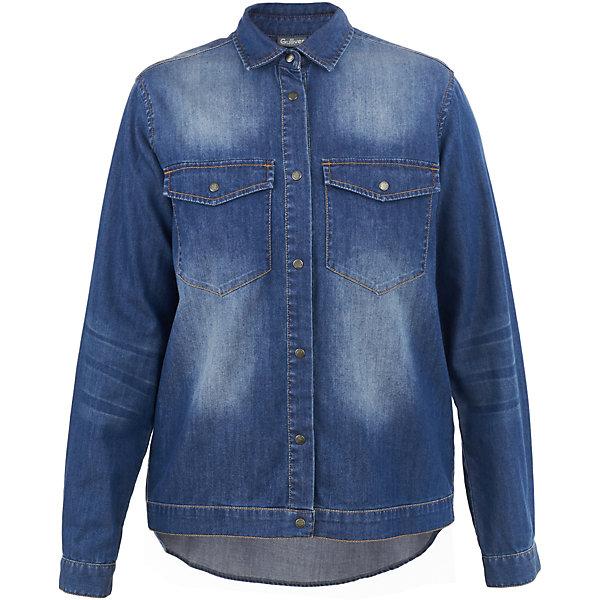 Рубашка джинсовая Gulliver для девочкиБлузки и рубашки<br>Характеристики товара:<br><br>• цвет: синий;<br>• состав: 67,5% хлопок, 32,5% лиоцелл;<br>• сезон: демисезон;<br>• особенности: джинсовая;<br>• застежка: пуговицы;<br>• манжеты рукавов на пуговицах;<br>• два накладных нагрудных кармана;<br>• коллекция: Купрум;<br>• страна бренда: Россия;<br>• страна изготовитель: Китай.<br><br>Необычная джинсовая блузка - отличный повседневный вариант для девочки-подростка. Модная свободная форма, оригинальная конструкция, интересный дизайн, варка и потертости делают блузку яркой и привлекательной! Она придаст динамику любому комплекту, подарив новизну и комфорт.<br><br>Блузку Gulliver (Гулливер) можно купить в нашем интернет-магазине.<br>Ширина мм: 186; Глубина мм: 87; Высота мм: 198; Вес г: 197; Цвет: синий; Возраст от месяцев: 120; Возраст до месяцев: 132; Пол: Женский; Возраст: Детский; Размер: 146,164,158,152; SKU: 7077151;