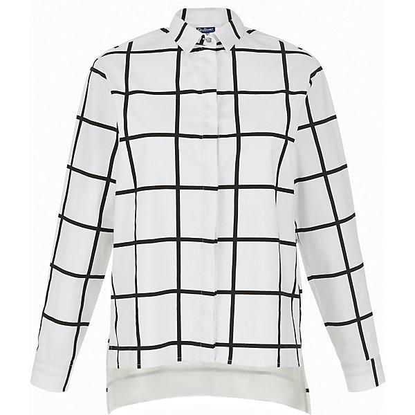 Блузка Gulliver для девочкиБлузки и рубашки<br>Характеристики товара:<br><br>• цвет: белый;<br>• состав: 68% хлопок, 29% полиэстер, 3% эластан;<br>• сезон: демисезон;<br>• особенности: в клетку;<br>• застежка: пуговицы;<br>• манжеты рукавов на двух пуговицах;<br>• удлиненная спинка<br>• длинные рукава;<br>• воротник-стойка;<br>• коллекция: Каменные джунгли;<br>• страна бренда: Россия;<br>• страна изготовитель: Китай.<br><br>Блузка с длинным рукавом для девочки. Удлиненная белая блузка в клетку - хит осенне-зимнего сезона! Свободная прямая форма, укороченная линия переда, выразительный графичный рисунок делают модель стильной и привлекательной. <br><br>Блузку Gulliver (Гулливер) можно купить в нашем интернет-магазине.<br><br>Ширина мм: 186<br>Глубина мм: 87<br>Высота мм: 198<br>Вес г: 197<br>Цвет: белый<br>Возраст от месяцев: 132<br>Возраст до месяцев: 144<br>Пол: Женский<br>Возраст: Детский<br>Размер: 152,146,164,158<br>SKU: 7077221