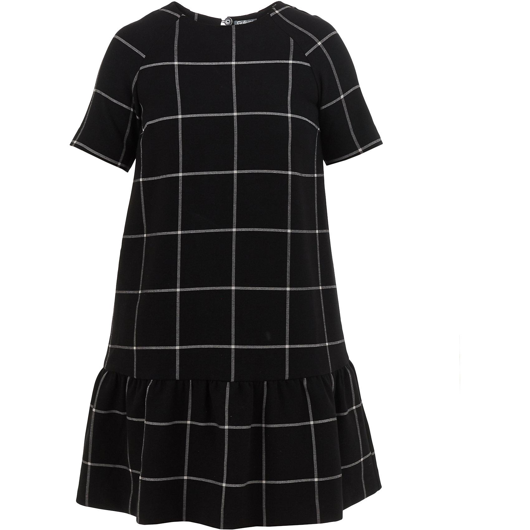 Платье Gulliver для девочкиОсенне-зимние платья и сарафаны<br>Платье Gulliver для девочки<br>Удлиненная белая блузка в клетку - хит осенне-зимнего сезона! Свободная прямая форма, укороченная линия переда, выразительный графичный рисунок делают модель стильной и привлекательной. Эта блузка для девочки - олицетворение того, какими должны быть модные блузки 2017/2018. Лаконичность, свобода, легкость и динамичность в подаче образа - все, кто ценит стиль, качество, комфорт в этой модели найдут полное соответствие своим ожиданиям. Если вы хотите купить модную детскую блузку, способную подчеркнуть индивидуальность ребенка, блузка от Gulliver - прекрасный вариант. Она сделает образ свежим, интересным, ярким.<br>Состав:<br>68% хлопок       29% полиэстер    3% эластан<br><br>Ширина мм: 236<br>Глубина мм: 16<br>Высота мм: 184<br>Вес г: 177<br>Цвет: черный<br>Возраст от месяцев: 120<br>Возраст до месяцев: 132<br>Пол: Женский<br>Возраст: Детский<br>Размер: 146,164,152,158<br>SKU: 7077226