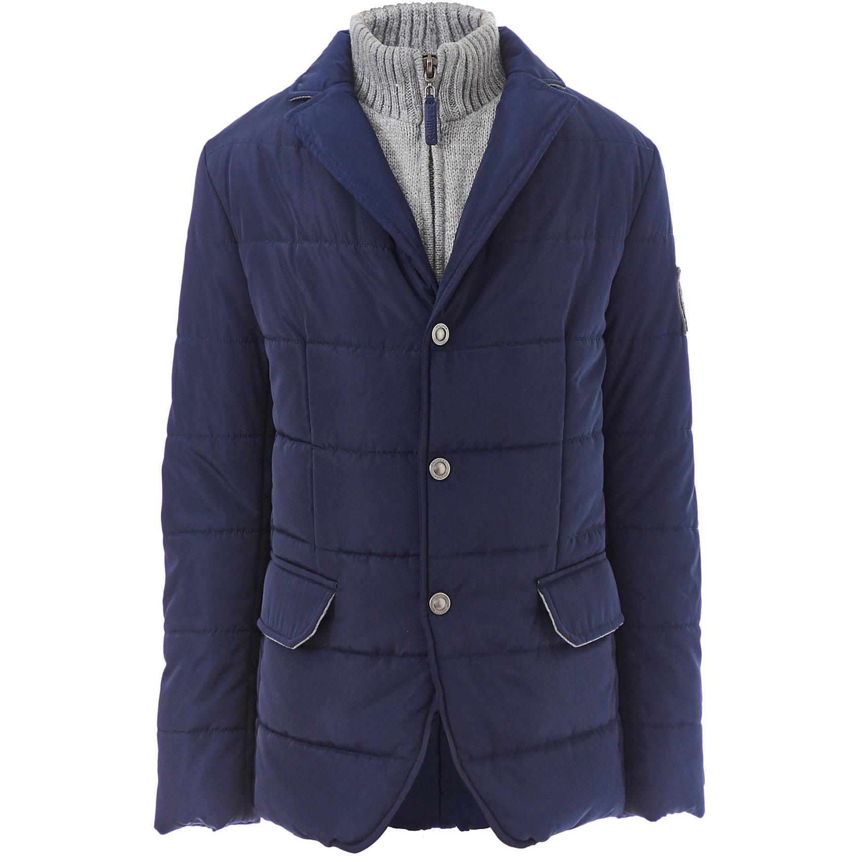 Куртка Gulliver для мальчикаДемисезонные куртки<br>Куртка Gulliver для мальчика<br>Этот уютный кардиган для мальчика - олицетворение комфорта. Он подарит тепло и порадует ребенка оригинальным дизайном! Мягкость, легкость, хороший состав и отличный внешний вид принесут удовольствие от покупки и эксплуатации. Если вы хотите купить кардиган для мальчика, модель, созданная в лучших традициях Gulliver - прекрасный выбор!<br>Состав:<br>50% шерсть ягнёнка                  50% нейлон<br><br>Ширина мм: 356<br>Глубина мм: 10<br>Высота мм: 245<br>Вес г: 519<br>Цвет: синий<br>Возраст от месяцев: 156<br>Возраст до месяцев: 168<br>Пол: Мужской<br>Возраст: Детский<br>Размер: 164,146,152,158<br>SKU: 7077304
