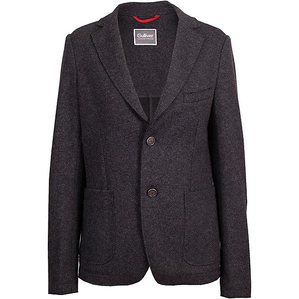 Пиджак Gulliver для мальчикаКостюмы и пиджаки<br>Характеристики товара:<br><br>• цвет: серый;<br>• состав: 73% полиэстер, 27% шерсть;<br>• подкладка: 50% полиэстер, 50% вискоза;<br>• сезон: демисезон;<br>• особенности: на подкладке;<br>• застежки: пуговицы;<br>• два накладных кармана;<br>• коллекция: Морской волк;<br>• страна бренда: Россия;<br>• страна изготовитель: Китай.<br><br>Купить пиджак в стиле casual - непростая задача. Часто, детские пиджаки лишь отдаленно напоминают это изделие, но пиджак Gulliver - другое дело! Выверенные лекала, четкие пропорции, красивая комфортная посадка на фигуре делают серый пиджак стильным и заметным элементом образа. С джинсами и рубашкой пиджак составит классный комплект, а с брюками из серого сукна он будет смотреться модным костюмом.<br><br>Пиджак Gulliver (Гулливер) можно купить в нашем интернет-магазине.<br><br>Ширина мм: 356<br>Глубина мм: 10<br>Высота мм: 245<br>Вес г: 519<br>Цвет: серый<br>Возраст от месяцев: 132<br>Возраст до месяцев: 144<br>Пол: Мужской<br>Возраст: Детский<br>Размер: 152,146,164,158<br>SKU: 7077319