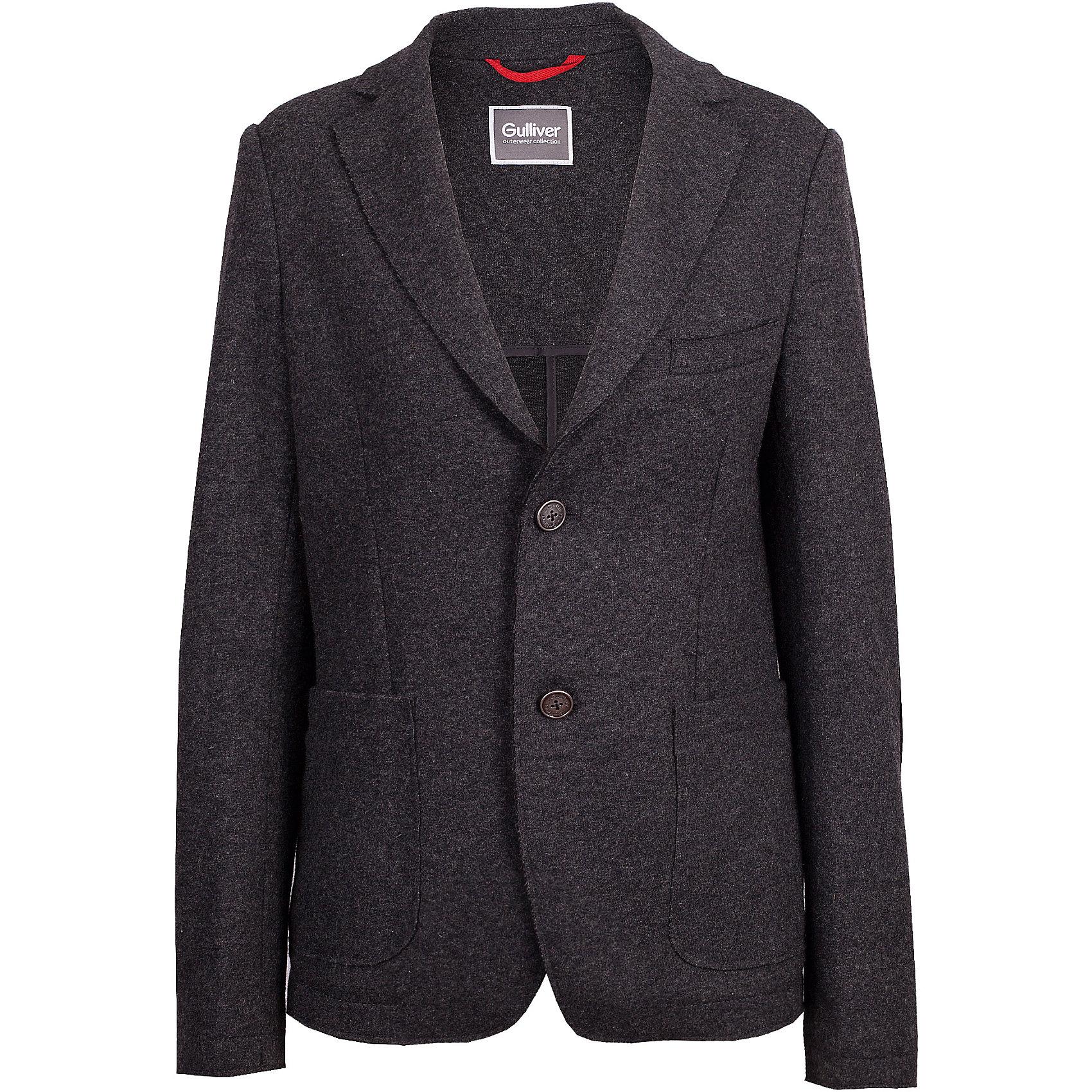 Пиджак Gulliver для мальчикаКостюмы и пиджаки<br>Пиджак Gulliver для мальчика<br>Какими бы красивыми и комфортными не были детские куртки, они никогда не заменят пальто! Пальто-даффлкот с детства делает ребенка джентльменом. Оно выглядит элегантно, изысканно и не уступает куртке в функциональности. Модное пальто из сукна глубокого синего цвета - прекрасная возможность подчеркнуть индивидуальность ребенка, сделав его осенний гардероб стильным и выразительным. Если вы хотите приобрести ребенку достойную вещь для осенней погоды, обратите внимание на это пальто! Модная, красивая, комфортная, практичная вещь станет ярким акцентом образа ребенка.<br>Состав:<br>верх: 50% шерсть 50% полиэстер; подкладка: 100% полиэстер<br><br>Ширина мм: 356<br>Глубина мм: 10<br>Высота мм: 245<br>Вес г: 519<br>Цвет: серый<br>Возраст от месяцев: 156<br>Возраст до месяцев: 168<br>Пол: Мужской<br>Возраст: Детский<br>Размер: 164,146,152,158<br>SKU: 7077319