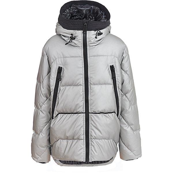 Куртка Gulliver для мальчикаЗимние куртки<br>Характеристики товара:<br><br>• цвет: серебро;<br>• состав: 100% полиэстер;<br>• подкладка: 100% полиэстер;<br>• утеплитель: 100% полиэстер, искусственный пух;<br>• сезон: зима;<br>• температурный режим: от 0 до -20С;<br>• особенности: стеганая, пуховая;<br>• застежка: молния;<br>• капюшон не отстегивается;<br>• капюшон-воротник с кнопкой-утяжкой на затылке;<br>• шнурок-утяжка со стопером на капюшоне;<br>• два больших кармана на молнии;<br>• коллекция: Хай-Тек;<br>• страна бренда: Россия;<br>• страна изготовитель: Китай.<br><br>Зимняя куртка на молнии для мальчика. Стильный дизайн модели с модным металлическим блеском серебристой плащевки понравится активному позитивному мальчику, идущему в ногу со временем. Модная форма, комфортная длина, удачная конструкция модели, не препятствующая свободе движений, а также все необходимые элементы для защиты от ветра сделают куртку незаменимым атрибутом осенне-зимнего сезона.<br><br>Куртку Gulliver (Гулливер) можно купить в нашем интернет-магазине.<br>Ширина мм: 356; Глубина мм: 10; Высота мм: 245; Вес г: 519; Цвет: серебряный; Возраст от месяцев: 120; Возраст до месяцев: 132; Пол: Мужской; Возраст: Детский; Размер: 146,158,152,164; SKU: 7077350;