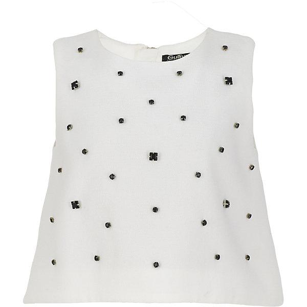 Блузка Gulliver для девочкиБлузки и рубашки<br>Характеристики товара:<br><br>• цвет: белый;<br>• состав: 100% полиэстер;<br>• подкладка: 100% хлопок;<br>• сезон: круглый год;<br>• особенности: нарядная, со стразами;<br>• застежка: двойная молния на спинке;<br>• без рукавов;<br>• округлый ворот;<br>• коллекция: Карнавальная ночь;<br>• страна бренда: Россия;<br>• страна изготовитель: Китай.<br><br>Блузка без рукавов для девочки. Легкая трапециевидная форма блузки не нарушит привычного комфорта, оформление передней части модели крупными черными бусинами подчеркнет торжественность и красоту момента. <br><br>Блузку Gulliver (Гулливер) можно купить в нашем интернет-магазине.<br>Ширина мм: 186; Глубина мм: 87; Высота мм: 198; Вес г: 197; Цвет: белый; Возраст от месяцев: 108; Возраст до месяцев: 120; Пол: Женский; Возраст: Детский; Размер: 140,122,134,128; SKU: 7077412;