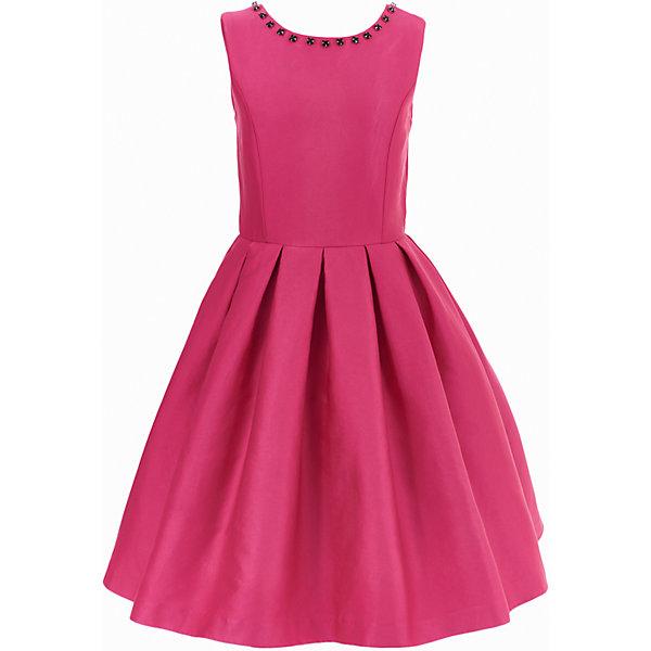 Платье Gulliver для девочкиОдежда<br>Характеристики товара:<br><br>• цвет: розовый;<br>• состав: 55% полиэстер, 45% хлопок; <br>• подкладка: 100% хлопок;<br>• сезон: круглый год;<br>• особенности: нарядное, в складку, со стразами;<br>• застежка: молния на спине;<br>• платье без рукавов;<br>• округлый горловой вырез;<br>• треугольный вырез на спине;<br>• юбка платья в небольшую складку;<br>• вырез по канту декорирован стразами;<br>• коллекция: Карнавальная ночь;<br>• страна бренда: Россия;<br>• страна изготовитель: Китай.<br><br>Нарядное платье без рукавов для девочки. Платье застегивается на молнию. Роскошное атласное платье цвета фуксия - образец благородства и изящества. Приталенный лиф, широкая пышная юбка и оформление горловины крупными бусинами создают головокружительный эффект модели для настоящей принцессы.<br><br>Платье Gulliver для девочки (Гулливер) можно купить в нашем интернет-магазине.<br>Ширина мм: 236; Глубина мм: 16; Высота мм: 184; Вес г: 177; Цвет: розовый; Возраст от месяцев: 84; Возраст до месяцев: 96; Пол: Женский; Возраст: Детский; Размер: 128,122,140,134; SKU: 7077417;
