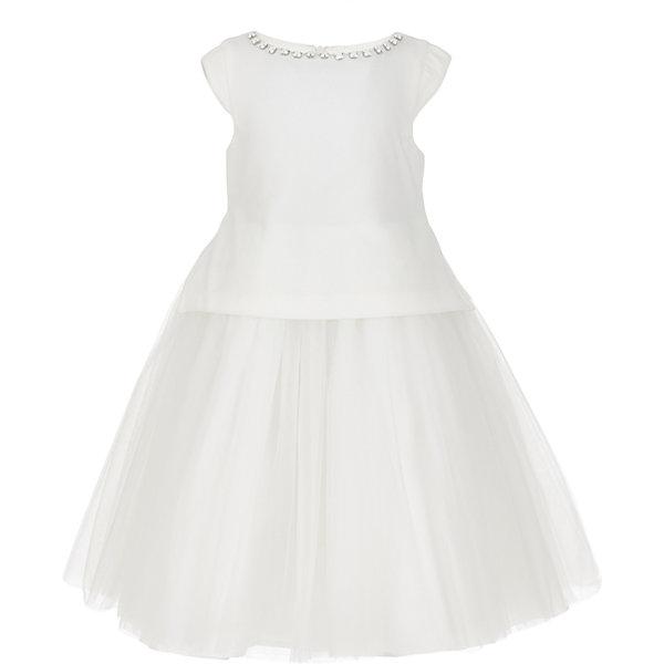 Платье Gulliver для девочкиОдежда<br>Характеристики товара:<br><br>• цвет: белый;<br>• состав: 100% полиэстер; <br>• подкладка: 100% хлопок;<br>• сезон: круглый год;<br>• особенности: нарядное, пышное, со стразами;<br>• застежка: молния на спине;<br>• платье без рукавов;<br>• округлый горловой вырез;<br>• юбка платья в небольшую складку;<br>• вырез по канту декорирован стразами;<br>• коллекция: Карнавальная ночь;<br>• страна бренда: Россия;<br>• страна изготовитель: Китай.<br><br>Нарядное платье без рукавов для девочки. Платье застегивается на молнию. Роскошное белое платье - образец благородства и изящества. Пышное платье и оформление горловины крупными бусинами создают головокружительный эффект модели для настоящей принцессы.<br><br>Платье Gulliver для девочки (Гулливер) можно купить в нашем интернет-магазине.<br>Ширина мм: 236; Глубина мм: 16; Высота мм: 184; Вес г: 177; Цвет: белый; Возраст от месяцев: 36; Возраст до месяцев: 48; Пол: Женский; Возраст: Детский; Размер: 104,98,116,110; SKU: 7077447;