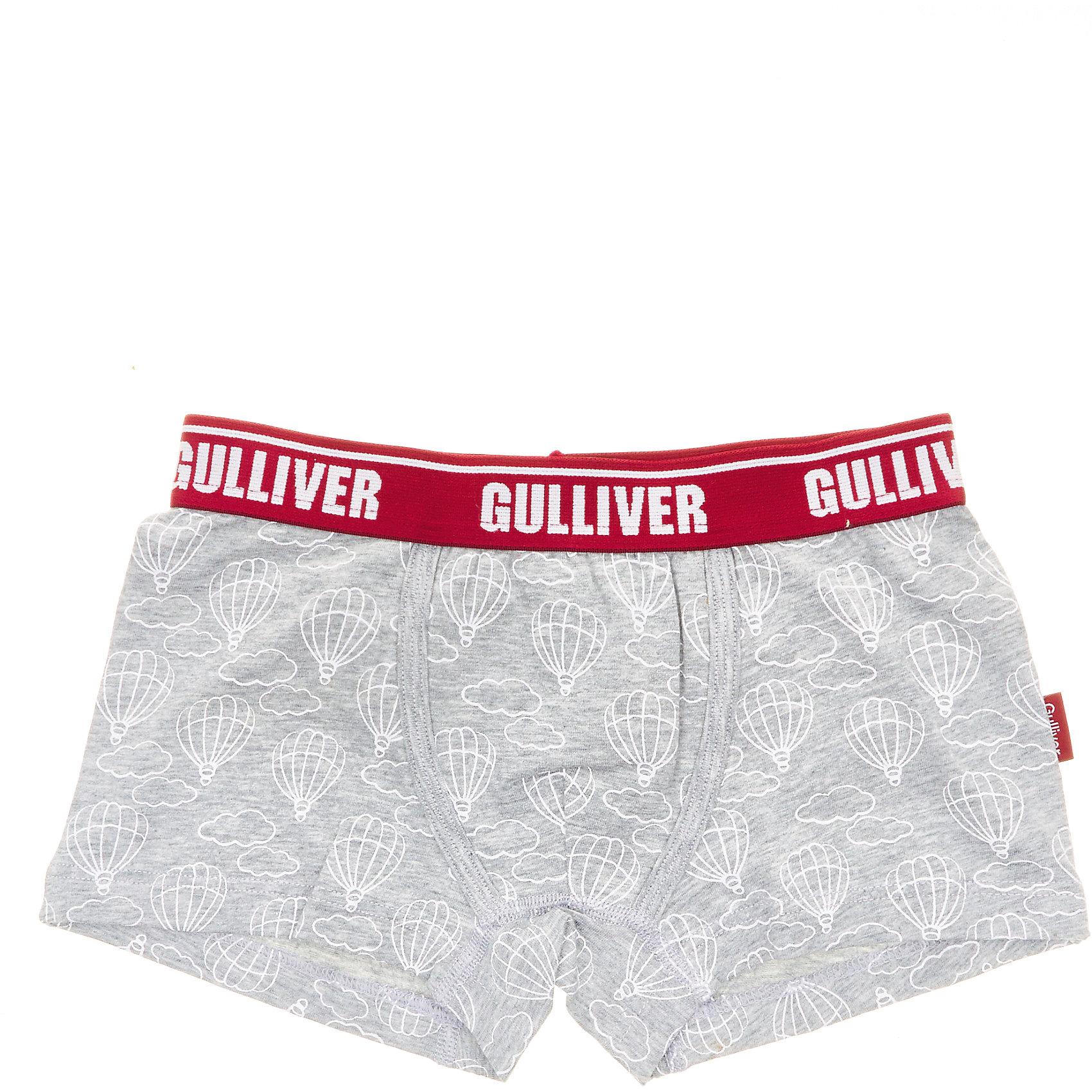 Трусы Gulliver для мальчикаНижнее бельё<br>Трусы Gulliver для мальчика<br>Белье для мальчиков должно быть красивым и удобным! - выбирая трусы для юного модника, каждая мама хочет купить детское белье, соответствующее самым высоким стандартам качества и комфорта. Детские трусы от Gulliver - идеальное решение для каждого дня. Интересный дизайн, мягкость, эстетичность, приятное прилегание к телу - залог хорошего самочувствия и отличного настроения ребенка.<br>Состав:<br>95% хлопок        5% эластан<br><br>Ширина мм: 196<br>Глубина мм: 10<br>Высота мм: 154<br>Вес г: 152<br>Цвет: серый<br>Возраст от месяцев: 24<br>Возраст до месяцев: 36<br>Пол: Мужской<br>Возраст: Детский<br>Размер: 98,158,110,122,134,146<br>SKU: 7078078