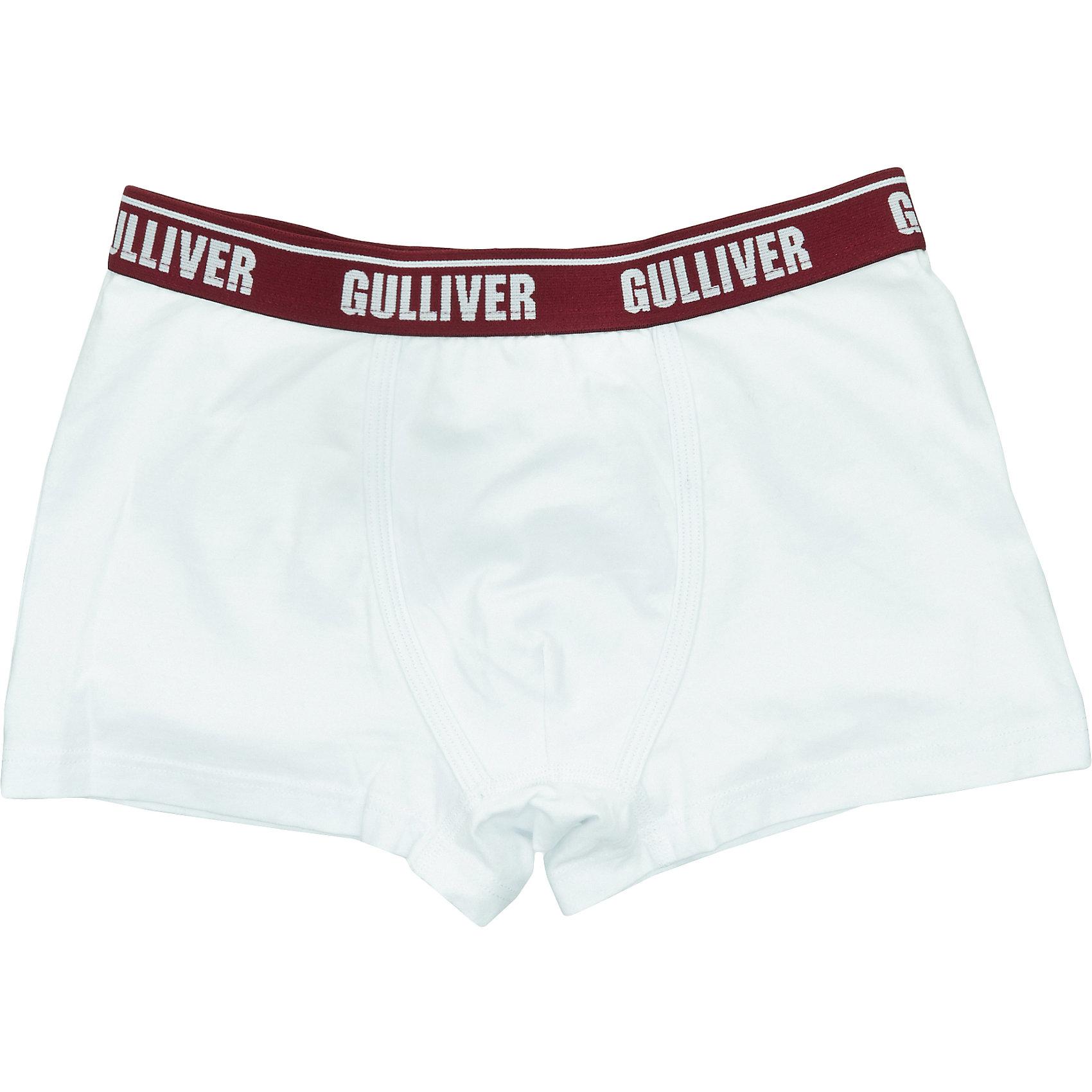 Трусы Gulliver для мальчикаНижнее бельё<br>Трусы Gulliver для мальчика<br>Белье для мальчиков должно быть красивым и удобным! - выбирая трусы для юного модника, каждая мама хочет купить детское белье, соответствующее самым высоким стандартам качества и комфорта. Детские трусы от Gulliver - идеальное решение для каждого дня. Интересный дизайн, мягкость, эстетичность, приятное прилегание к телу - залог хорошего самочувствия и отличного настроения ребенка.<br>Состав:<br>95% хлопок        5% эластан<br><br>Ширина мм: 196<br>Глубина мм: 10<br>Высота мм: 154<br>Вес г: 152<br>Цвет: белый<br>Возраст от месяцев: 144<br>Возраст до месяцев: 156<br>Пол: Мужской<br>Возраст: Детский<br>Размер: 158,98,110,122,134,146<br>SKU: 7078092