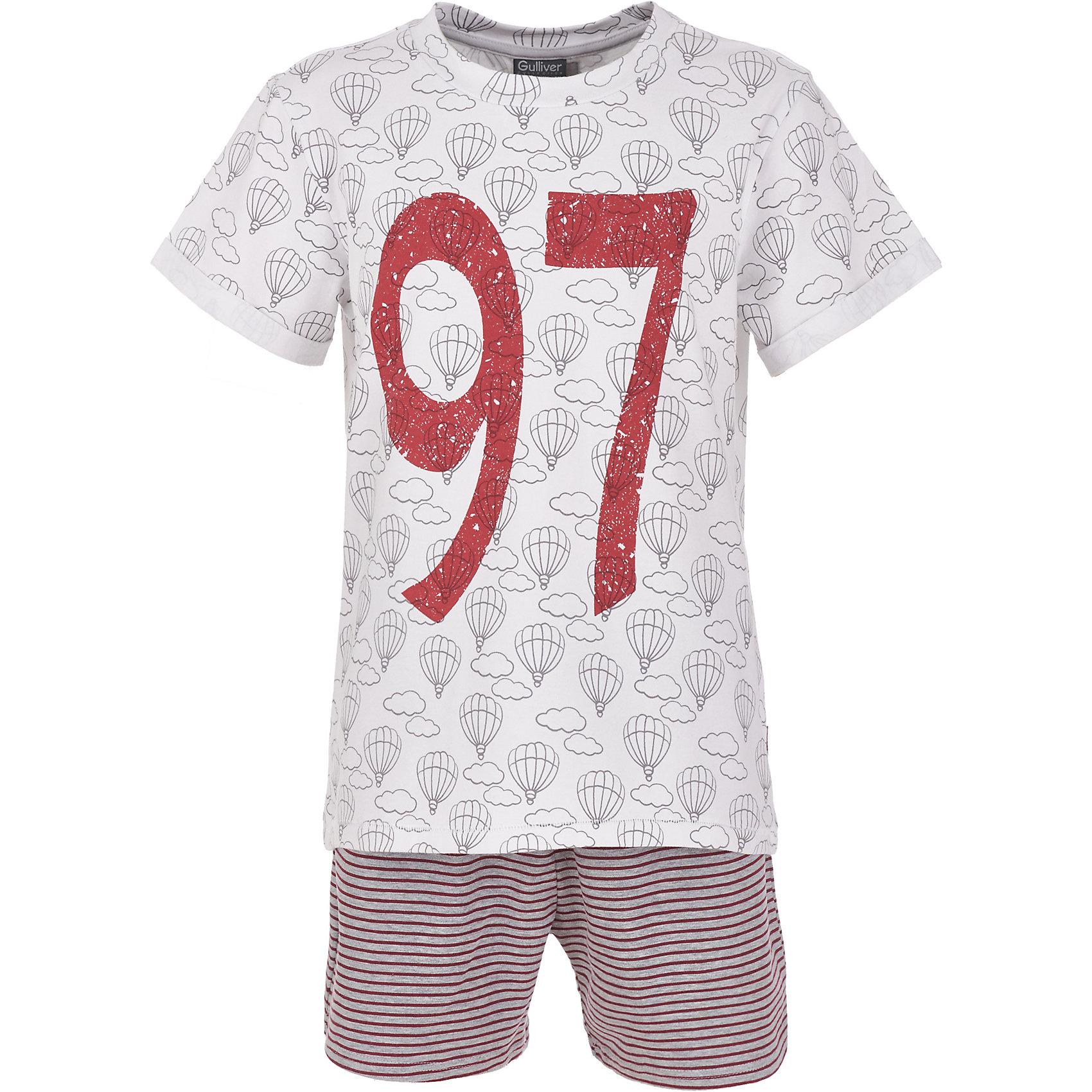Пижама Gulliver для мальчикаПижамы и сорочки<br>Пижама Gulliver для мальчика<br>Белье для мальчика должно быть красивым и качественным! - учить ребенка этому важному правилу лучше не на словах, а подтверждая его своими поступками. Пижама для мальчика с оригинальным принтом - прекрасное решение для интересной вечерней сказки, комфортного сна и счастливого пробуждения. Мягкая, нежная, с ненавязчивым мелким рисунком и изящными деталями, детская пижама от Gulliver подчеркнет уютную домашнюю атмосферу и создаст отличное настроение.<br>Состав:<br>95% хлопок        5% эластан<br><br>Ширина мм: 281<br>Глубина мм: 70<br>Высота мм: 188<br>Вес г: 295<br>Цвет: белый<br>Возраст от месяцев: 144<br>Возраст до месяцев: 156<br>Пол: Мужской<br>Возраст: Детский<br>Размер: 158,98,110,122,134,146<br>SKU: 7078134