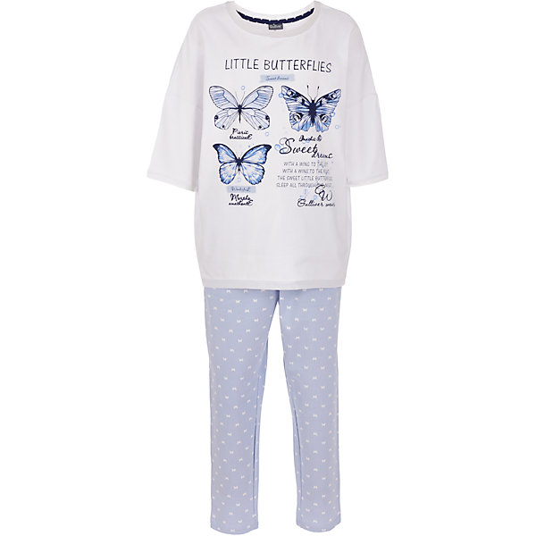 Пижама Gulliver для девочкиПижамы и сорочки<br>Характеристики товара:<br><br>• цвет: белый/голубой;<br>• состав: 95% хлопок, 5% эластан;<br>• сезон: круглый год;<br>• особенности: с рисунком, с надписью;<br>• в комплекте 2 предмета: кофта и штаны;<br>• штаны на резинке с дополнительным шнурком-утяжкой;<br>• кофта с рукавами 3/4;<br>• страна бренда: Россия;<br>• страна изготовитель: Китай.<br><br>Пижама с рисунком для девочки. Пижама состоит из кофты и штанов. Штаны на мягкой эластичной резинкой, дополнены шнурком-завязкой. Брюки голубого цвета с рисунком в виде белых бабочек. Белая кофта с рукавами 3/4, дополнена принтом в виде бабочек и надписей.<br><br>Пижаму Gulliver для девочки (Гулливер) можно купить в нашем интернет-магазине.<br>Ширина мм: 281; Глубина мм: 70; Высота мм: 188; Вес г: 295; Цвет: белый; Возраст от месяцев: 24; Возраст до месяцев: 36; Пол: Женский; Возраст: Детский; Размер: 158,110,122,98,134,146; SKU: 7078354;