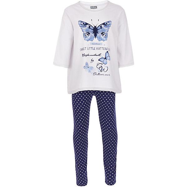 Пижама Gulliver для девочкиПижамы и сорочки<br>Характеристики товара:<br><br>• цвет: белый/синий;<br>• состав: 95% хлопок, 5% эластан;<br>• сезон: круглый год;<br>• особенности: с рисунком, с надписью;<br>• в комплекте 2 предмета: кофта и штаны;<br>• штаны на резинке с дополнительным шнурком-утяжкой;<br>• кофта с рукавами 3/4;<br>• страна бренда: Россия;<br>• страна изготовитель: Китай.<br><br>Пижама с рисунком для девочки. Пижама состоит из кофты и штанов. Штаны на мягкой эластичной резинкой, дополнены шнурком-завязкой. Брюки синего цвета с рисунком в виде белых сердечек. Белая кофта с рукавами 3/4, дополнена принтом в виде бабочек и надписей.<br><br>Пижаму Gulliver для девочки (Гулливер) можно купить в нашем интернет-магазине.<br>Ширина мм: 281; Глубина мм: 70; Высота мм: 188; Вес г: 295; Цвет: белый; Возраст от месяцев: 24; Возраст до месяцев: 36; Пол: Женский; Возраст: Детский; Размер: 98,158,146,134,122,110; SKU: 7078361;