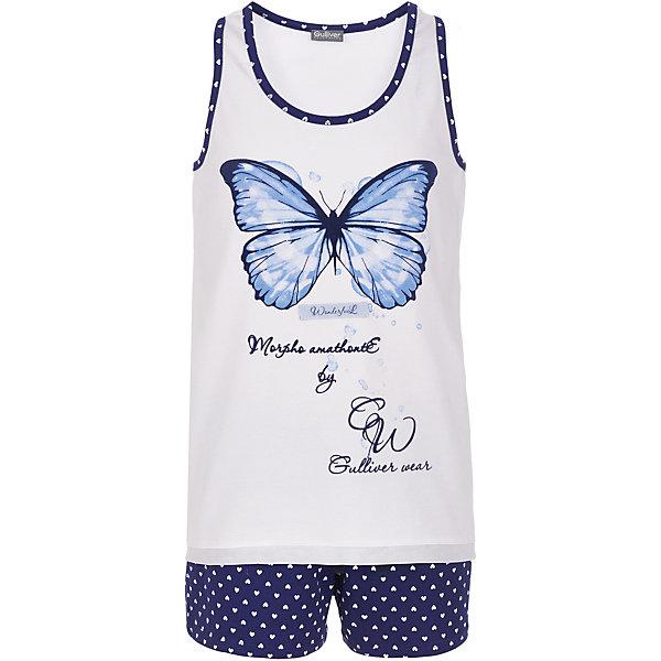 Пижама Gulliver для девочкиПижамы и сорочки<br>Характеристики товара:<br><br>• цвет: белый/синий;<br>• состав: 95% хлопок, 5% эластан;<br>• сезон: круглый год;<br>• особенности: с рисунком, с надписью;<br>• в комплекте 2 предмета: шорты и майка;<br>• шорты на резинке с дополнительным шнурком-утяжкой;<br>• майка на широких лямках;<br>• страна бренда: Россия;<br>• страна изготовитель: Китай.<br><br>Пижама с рисунком для девочки. Пижама состоит майки и шортиков. Шорты на мягкой эластичной резинкой, дополнены шнурком-завязкой. Шорты синего цвета с рисунком в виде белых сердечек. Белая майка на широких лямках, дополнена принтом в виде бабочки и надписей.<br><br>Пижаму Gulliver для девочки (Гулливер) можно купить в нашем интернет-магазине.<br><br>Ширина мм: 281<br>Глубина мм: 70<br>Высота мм: 188<br>Вес г: 295<br>Цвет: белый<br>Возраст от месяцев: 24<br>Возраст до месяцев: 36<br>Пол: Женский<br>Возраст: Детский<br>Размер: 98,158,146,134,122,110<br>SKU: 7078368