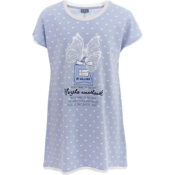 Ночная сорочка Gulliver для девочкиПижамы и сорочки<br>Характеристики товара:<br><br>• цвет: голубой;<br>• состав: 95% хлопок, 5% эластан;<br>• сезон: круглый год;<br>• особенности: с рисунком;<br>• ночная рубашка с коротким рукавом;<br>• страна бренда: Россия;<br>• страна изготовитель: Китай.<br><br>Ночная рубашка с рисунком для девочки. Ночная сорочка с коротким рукавом, дополнена рисунком в виде бабочек.<br><br>Ночную сорочку Gulliver для девочки (Гулливер) можно купить в нашем интернет-магазине.<br><br>Ширина мм: 281<br>Глубина мм: 70<br>Высота мм: 188<br>Вес г: 295<br>Цвет: голубой<br>Возраст от месяцев: 24<br>Возраст до месяцев: 36<br>Пол: Женский<br>Возраст: Детский<br>Размер: 110,98,158,146,134,122<br>SKU: 7078375