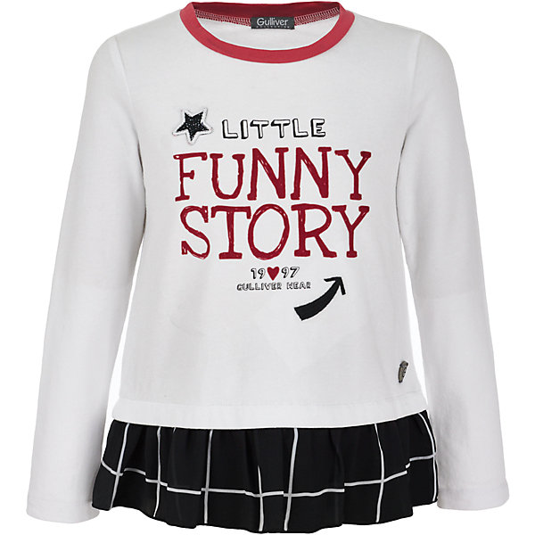 Футболка с длинным рукавом Gulliver для девочкиФутболки с длинным рукавом<br>Футболка Gulliver для девочки<br>Детские футболки - основа повседневного гардероба! Удобные и красивые, стильные трикотажные футболки способны добавить образу изюминку, а также подарить комфорт и свободу движений. Если вы хотите приобрести модную вещь на каждый день, вам стоит купить футболку с длинным рукавом от Gulliver. Интересный дизайн модели, имитирующий актуальную многослойность, построенную на сочетании фактур, а также крупный выразительный принт на передней части изделия и цветная отделка делают футболку необычной и интересной.<br>Состав:<br>95% хлопок         5% эластан<br><br>Ширина мм: 199<br>Глубина мм: 10<br>Высота мм: 161<br>Вес г: 151<br>Цвет: белый<br>Возраст от месяцев: 24<br>Возраст до месяцев: 36<br>Пол: Женский<br>Возраст: Детский<br>Размер: 98,116,110,104<br>SKU: 7078408