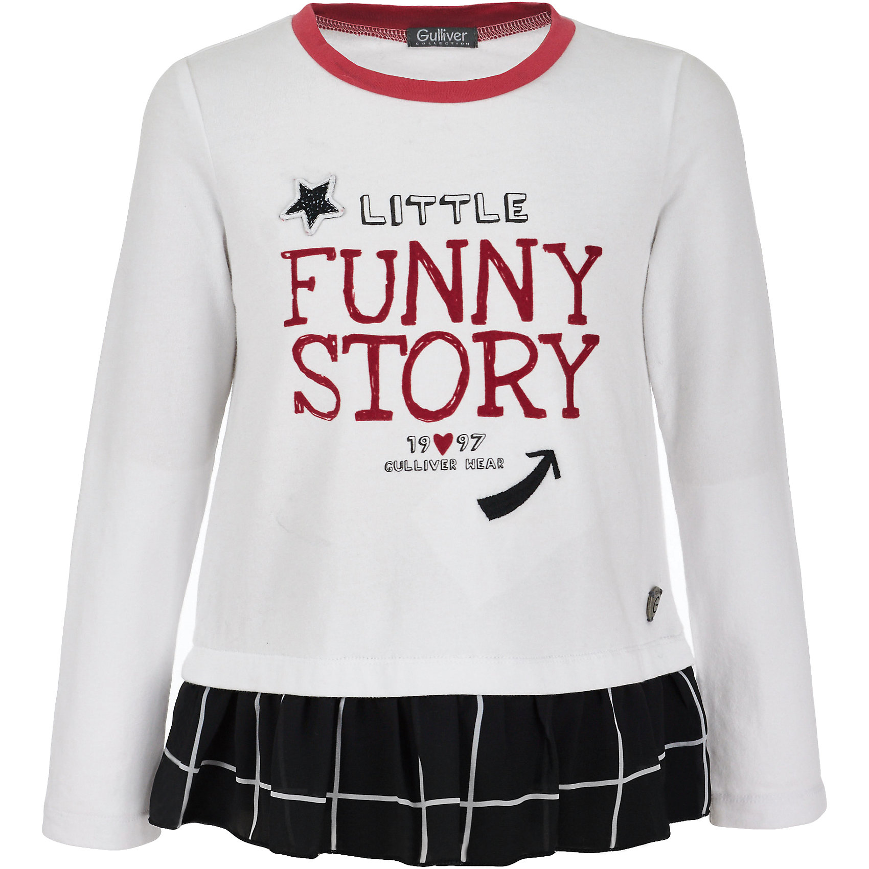Футболка с длинным рукавом Gulliver для девочкиФутболки с длинным рукавом<br>Футболка Gulliver для девочки<br>Детские футболки - основа повседневного гардероба! Удобные и красивые, стильные трикотажные футболки способны добавить образу изюминку, а также подарить комфорт и свободу движений. Если вы хотите приобрести модную вещь на каждый день, вам стоит купить футболку с длинным рукавом от Gulliver. Интересный дизайн модели, имитирующий актуальную многослойность, построенную на сочетании фактур, а также крупный выразительный принт на передней части изделия и цветная отделка делают футболку необычной и интересной.<br>Состав:<br>95% хлопок         5% эластан<br><br>Ширина мм: 199<br>Глубина мм: 10<br>Высота мм: 161<br>Вес г: 151<br>Цвет: белый<br>Возраст от месяцев: 60<br>Возраст до месяцев: 72<br>Пол: Женский<br>Возраст: Детский<br>Размер: 116,98,104,110<br>SKU: 7078408