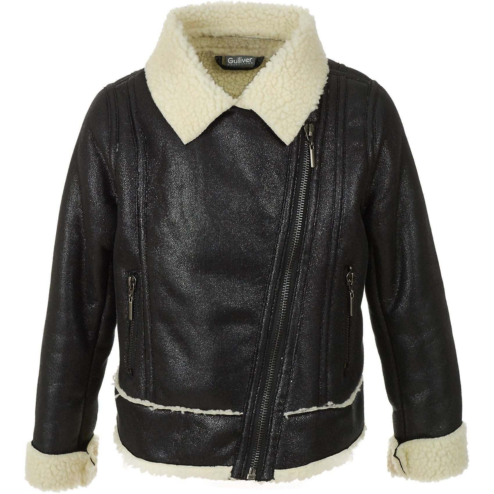 Куртка Gulliver для девочкиДемисезонные куртки<br>Куртка Gulliver для девочки<br>Эта куртка-косуха - мечта каждой модницы! Сделанная из мягкой эко кожи и коротковорсового искусственного меха, куртка выглядит потрясающе! Черный цвет, актуальный силуэт, правильная длина, асимметричная застежка, крупная металлическая молния, - в этой модели все совпало для создания дерзкого и динамичного образа. Если вам наскучили традиционные решения из плащевки, и вы хотите приобрести модную интересную вещь, которая станет ярким и выразительным акцентом осенне-зимнего гардероба вашего ребенка, вам стоит купить куртку от Gulliver! Смелое дизайнерское решение сделает каждый look ребенка свежим, необычным и интересным.<br>Состав:<br>100% полиэстер<br><br>Ширина мм: 356<br>Глубина мм: 10<br>Высота мм: 245<br>Вес г: 519<br>Цвет: черный<br>Возраст от месяцев: 60<br>Возраст до месяцев: 72<br>Пол: Женский<br>Возраст: Детский<br>Размер: 116,98,104,110<br>SKU: 7078433