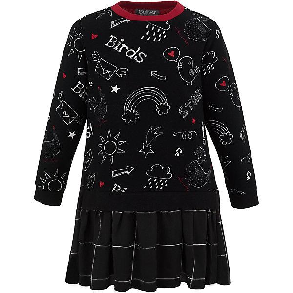 Платье Gulliver для девочкиОсенне-зимние платья и сарафаны<br>Характеристики товара:<br><br>• цвет: черный;<br>• состав: 95% хлопок, 5% эластан; <br>• сезон: демисезон;<br>• особенности: с рисунком, в складку, в клетку;<br>• застежка: без застежки;<br>• платье с длинным рукавом;<br>• округлый горловой вырез;<br>• юбка платья в небольшую складку;<br>• коллекция: Графический этюд;<br>• страна бренда: Россия;<br>• страна изготовитель: Китай.<br><br>Отличное трикотажное платье из коллекции Графический этюд станет хитом стильного и функционального гардероба ребенка. Выполненное из хлопка с эластаном, платье с длинным рукавом уютное, но не жаркое. Легкий трапециевидный силуэт создает комфортный объем, что очень важно для свободы движений в моменты игр и активности. Забавный детский рисунок привлекает своей свежестью и позитивом.<br><br>Платье Gulliver для девочки (Гулливер) можно купить в нашем интернет-магазине.<br>Ширина мм: 236; Глубина мм: 16; Высота мм: 184; Вес г: 177; Цвет: черный; Возраст от месяцев: 24; Возраст до месяцев: 36; Пол: Женский; Возраст: Детский; Размер: 98,116,110,104; SKU: 7078443;