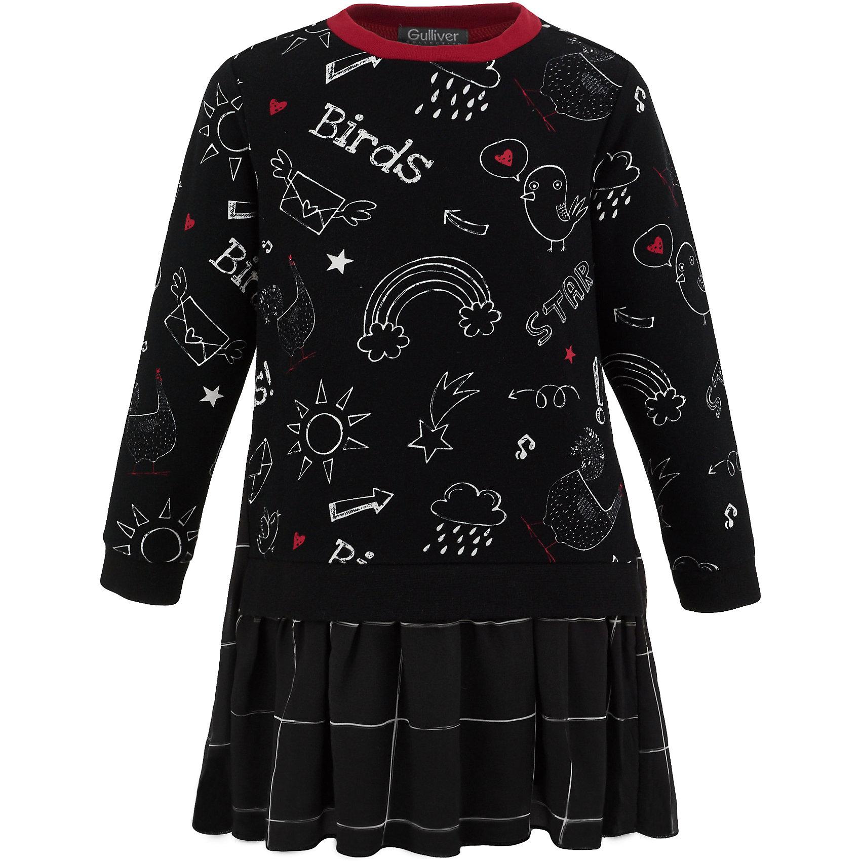 Платье Gulliver для девочкиПлатья и сарафаны<br>Платье Gulliver для девочки<br>Отличное трикотажное платье из коллекции Графический этюд станет хитом стильного и функционального гардероба ребенка. Вы больше можете не ломать голову над тем, какое платье купить для детского сада, т.к. эта модель соответствует всем объективным требованиям. Выполненное из хлопка с эластаном, платье с длинным рукавом уютное, но не жаркое. Легкий трапециевидный силуэт создает комфортный объем, что очень важно для свободы движений в моменты игр и активности. Забавный детский рисунок привлекает своей свежестью и позитивом, делая детское платье очень интересным и ярким и, что немаловажно, практичным и не марким. Клетчатая рюша из воздушного шифона добавляет платью легкую игривость, создавая отличное настроение.<br>Состав:<br>95% хлопок         5% эластан<br><br>Ширина мм: 236<br>Глубина мм: 16<br>Высота мм: 184<br>Вес г: 177<br>Цвет: черный<br>Возраст от месяцев: 60<br>Возраст до месяцев: 72<br>Пол: Женский<br>Возраст: Детский<br>Размер: 116,98,104,110<br>SKU: 7078443