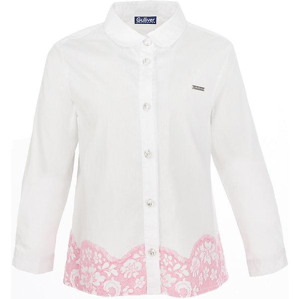Блузка Gulliver для девочкиБлузки и рубашки<br>Характеристики товара:<br><br>• цвет: белый;<br>• состав: 76% хлопок, 20% полиамид, 4% эластан;<br>• сезон: круглый год;<br>• особенности: нарядная, с кружевом;<br>• застежка: пуговицы;<br>• манжеты рукавов на одной пуговице;<br>• с длинным рукавом;<br>• воротник-стойка;<br>• по низу декорирована кружевом;<br>• коллекция: Филигрань;<br>• страна бренда: Россия;<br>• страна изготовитель: Китай.<br><br>Детская блузка с изюминкой в виде элегантного кружевного декора, выполненного в технике принта, - прекрасная модель и для будней, и для праздников. Эту блузку следует носить навыпуск, чтобы подчеркнуть оригинальность модели.<br><br>Блузку Gulliver (Гулливер) можно купить в нашем интернет-магазине.<br>Ширина мм: 186; Глубина мм: 87; Высота мм: 198; Вес г: 197; Цвет: белый; Возраст от месяцев: 60; Возраст до месяцев: 72; Пол: Женский; Возраст: Детский; Размер: 116,98,104,110; SKU: 7078508;