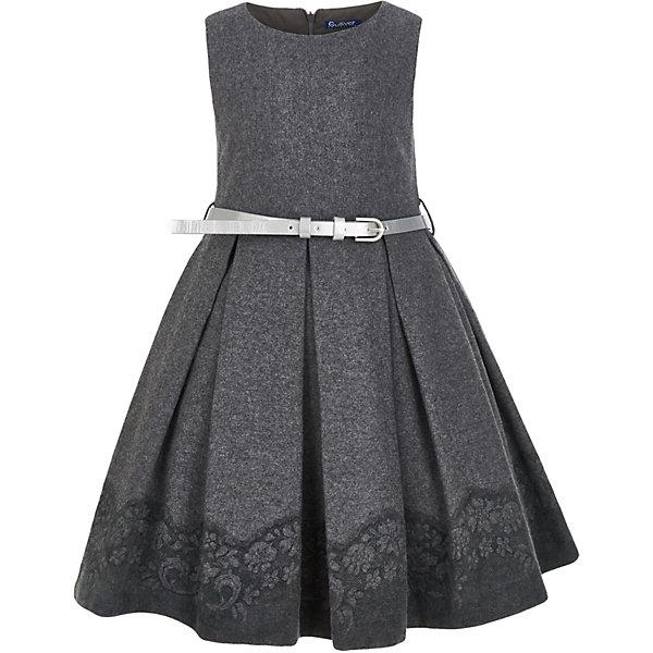 Платье Gulliver для девочкиПлатья и сарафаны<br>Характеристики товара:<br><br>• цвет: серый;<br>• состав: 50% шерсть 15% вискоза 35% полиэстер; <br>• подкладка: 100% хлопок;<br>• сезон: демисезон, зима;<br>• особенности: с кружевом, в складку, нарядное;<br>• застежка: молния на спине;<br>• контрастный ремешок в комплекте;<br>• платье без рукавов;<br>• округлый горловой вырез;<br>• юбка платья в складку;<br>• коллекция: Филигрань;<br>• страна бренда: Россия;<br>• страна изготовитель: Китай.<br><br>Нарядное платье без рукавов для девочки. Красивое текстильное платье без рукава с эффектным кружевным принтом по краю изделия, выглядит очень элегантно и изысканно. Тонкий серебристый поясок - деликатный акцент, подчеркивающий красоту и грациозность его обладательницы.<br><br>Платье Gulliver для девочки (Гулливер) можно купить в нашем интернет-магазине.<br><br>Ширина мм: 236<br>Глубина мм: 16<br>Высота мм: 184<br>Вес г: 177<br>Цвет: серый<br>Возраст от месяцев: 60<br>Возраст до месяцев: 72<br>Пол: Женский<br>Возраст: Детский<br>Размер: 98,110,104,116<br>SKU: 7078513