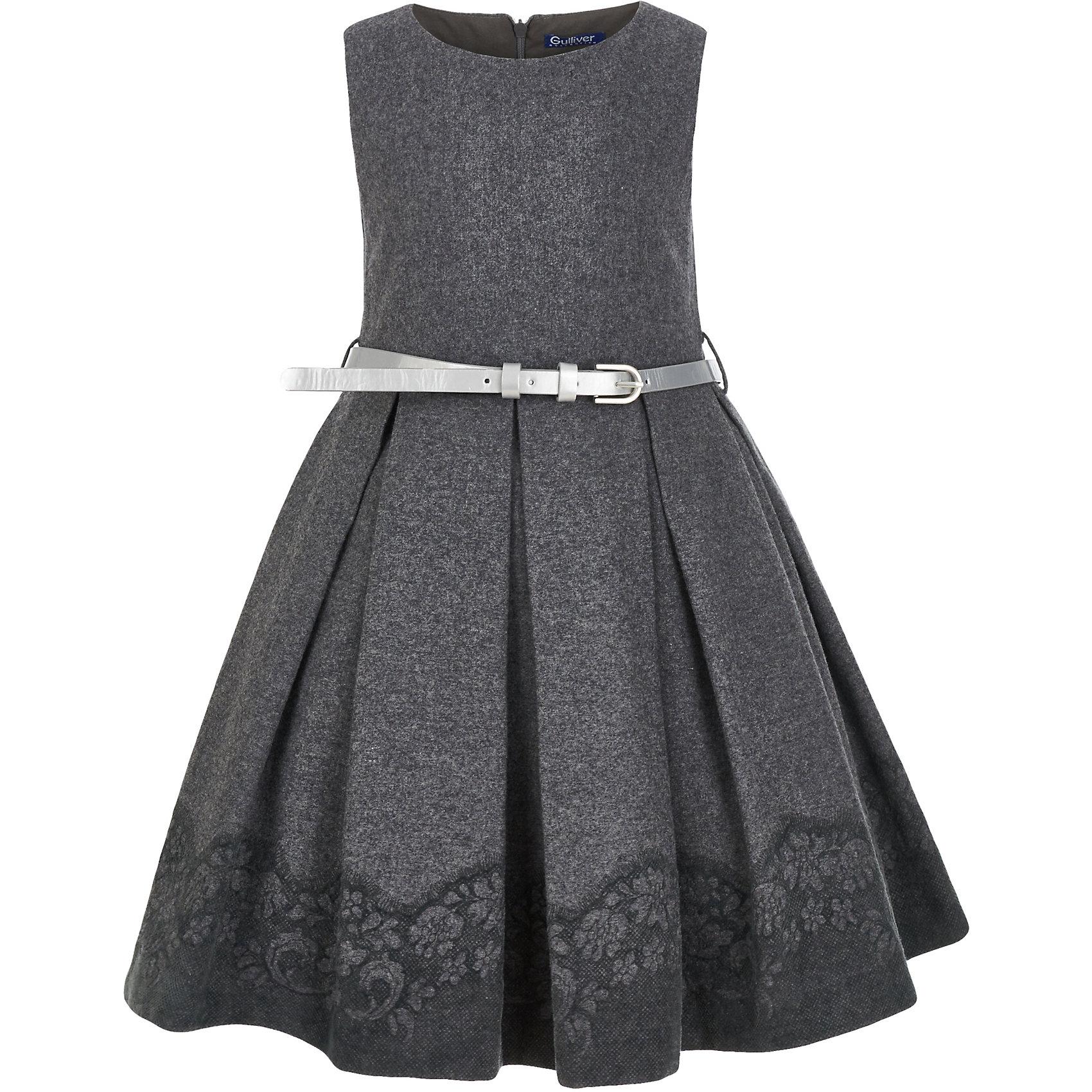 Платье Gulliver для девочкиОсенне-зимние платья и сарафаны<br>Платье Gulliver для девочки<br>Ох уж, эти модницы… Их гардероб пестрит нарядами, но разве можно пройти мимо нового платья? Платье для девочек - предмет их особой гордости, ведь это символ женственности и кокетства! Если вы хотите порадовать ребенка, дополнив его гардероб моделью с изюминкой, вам нужно купить модное платье от Gulliver! Красивое текстильное платье без рукава с эффектным кружевным принтом по краю изделия, выглядит очень элегантно и изысканно. Тонкий серебристый поясок - деликатный акцент, подчеркивающий красоту и грациозность его обладательницы.<br>Состав:<br>верх:  50 % шерсть  15% вискоза  35% полиэстер; подкладка:  100% хлопок<br><br>Ширина мм: 236<br>Глубина мм: 16<br>Высота мм: 184<br>Вес г: 177<br>Цвет: серый<br>Возраст от месяцев: 24<br>Возраст до месяцев: 36<br>Пол: Женский<br>Возраст: Детский<br>Размер: 98,116,110,104<br>SKU: 7078513