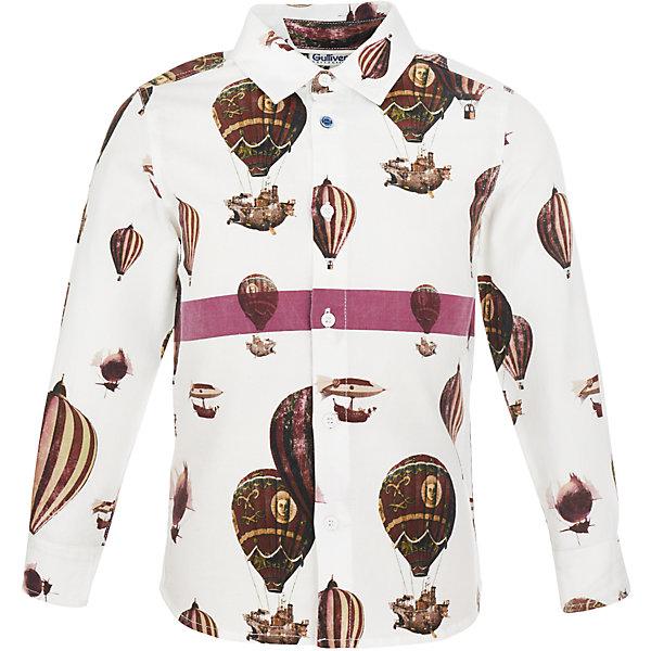 Рубашка Gulliver для мальчикаБлузки и рубашки<br>Характеристики товара:<br><br>• цвет: белый;<br>• состав: 100% хлопок;<br>• сезон: круглый год;<br>• особенности: с рисунком, повседневная;<br>• застежка: пуговицы;<br>• манжеты рукавов на пуговицах;<br>• с длинным рукавом;<br>• коллекция: Воздушная регата;<br>• страна бренда: Россия;<br>• страна изготовитель: Китай.<br><br>Рубашка с длиннмы рукавом для мальчика. Рубашка с рисунком застегивается на пуговицы, манжеты рукавов на двух пуговицах. Чуть приталенный силуэт, необычный принт, оригинальная отделка цветной полосой делают рубашку очень привлекательной и яркой! <br><br>Рубашку Gulliver (Гулливер) можно купить в нашем интернет-магазине.<br><br>Ширина мм: 174<br>Глубина мм: 10<br>Высота мм: 169<br>Вес г: 157<br>Цвет: белый<br>Возраст от месяцев: 24<br>Возраст до месяцев: 36<br>Пол: Мужской<br>Возраст: Детский<br>Размер: 98,116,110,104<br>SKU: 7078598