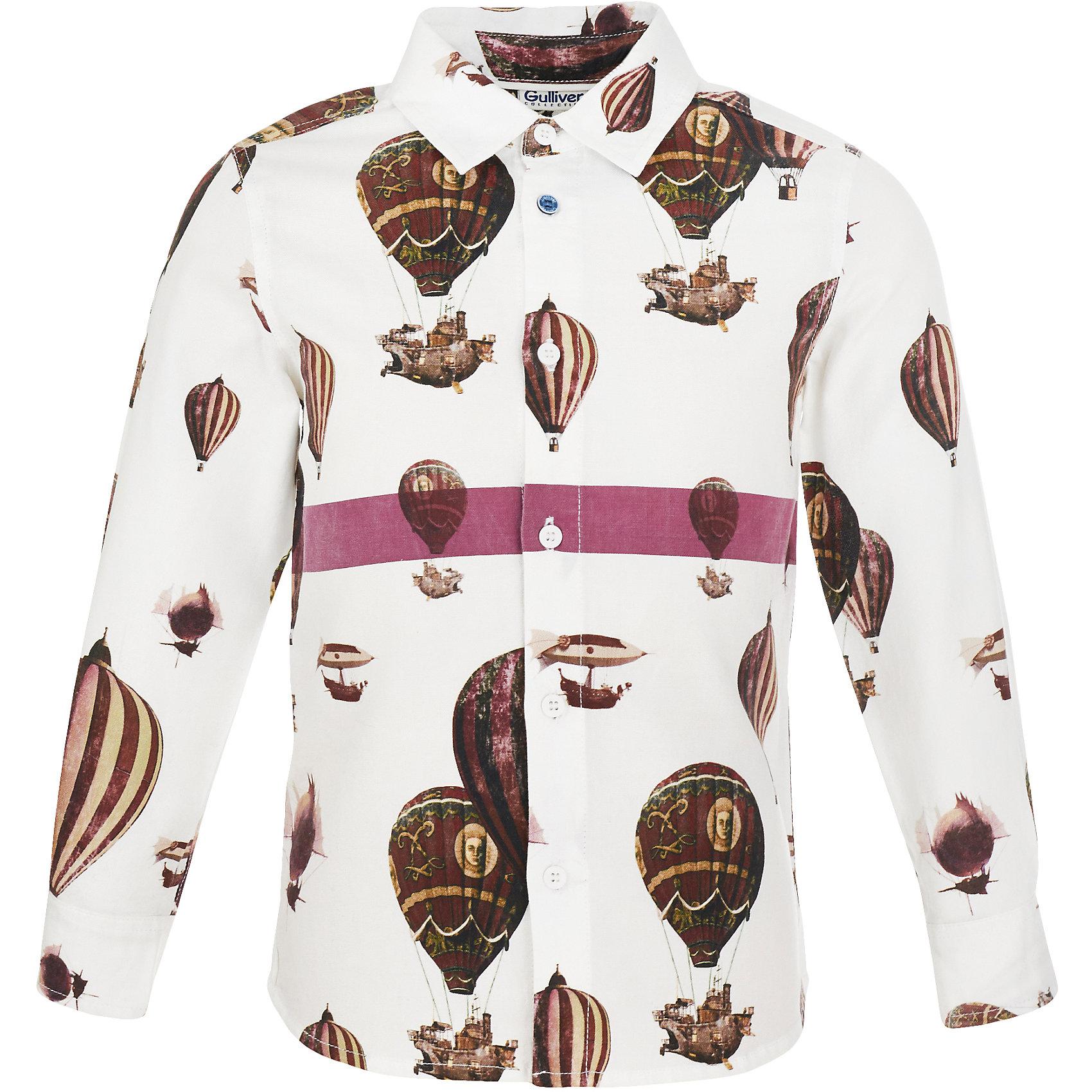 Сорочка Gulliver для мальчикаБлузки и рубашки<br>Сорочка Gulliver для мальчика<br>Модная белая рубашка для мальчика с крупным активным рисунком сделает образ ребенка свежим и современным! Если вы хотите купить рубашку для мальчика, но устали от простых базовых решений, вам стоит купить рубашку из коллекции Воздушная регата! Чуть приталенный силуэт, необычный принт, оригинальная отделка цветной полосой делают рубашку очень привлекательной и яркой! Она станет акцентом любого комплекта в стиле casual, придав образу малыша новизну и индивидуальность.<br>Состав:<br>100% хлопок<br><br>Ширина мм: 174<br>Глубина мм: 10<br>Высота мм: 169<br>Вес г: 157<br>Цвет: белый<br>Возраст от месяцев: 60<br>Возраст до месяцев: 72<br>Пол: Мужской<br>Возраст: Детский<br>Размер: 116,98,104,110<br>SKU: 7078598
