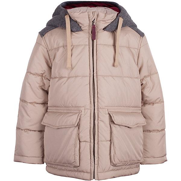 Куртка Gulliver для мальчикаВерхняя одежда<br>Характеристики товара:<br><br>• цвет: бежевый;<br>• состав: 100% полиэстер;<br>• подкладка: 100% полиэстер;<br>• утеплитель: 100% полиэстер;<br>• сезон: зима;<br>• температурный режим: от 0 до -20С;<br>• особенности: стеганая;<br>• застежка: молния с защитой подбородка;<br>• накладки на локтях;<br>• капюшон не отстегивается;<br>• шнурок-завязка на капюшоне;<br>• два накладных кармана;<br>• коллекция: Воздушная регата;<br>• страна бренда: Россия;<br>• страна изготовитель: Китай.<br><br>Зимняя куртка на молнии для мальчика. Модная форма, комфортная длина, комбинация фактур, множество интересных функциональных и декоративных деталей делают куртку яркой и привлекательной. Эта куртка с контрастной отделкой подарит своему обладателю прекрасный внешний вид, удобство и индивидуальность. <br><br>Куртку Gulliver (Гулливер) можно купить в нашем интернет-магазине.<br>Ширина мм: 356; Глубина мм: 10; Высота мм: 245; Вес г: 519; Цвет: бежевый; Возраст от месяцев: 48; Возраст до месяцев: 60; Пол: Мужской; Возраст: Детский; Размер: 110,98,116,104; SKU: 7078613;