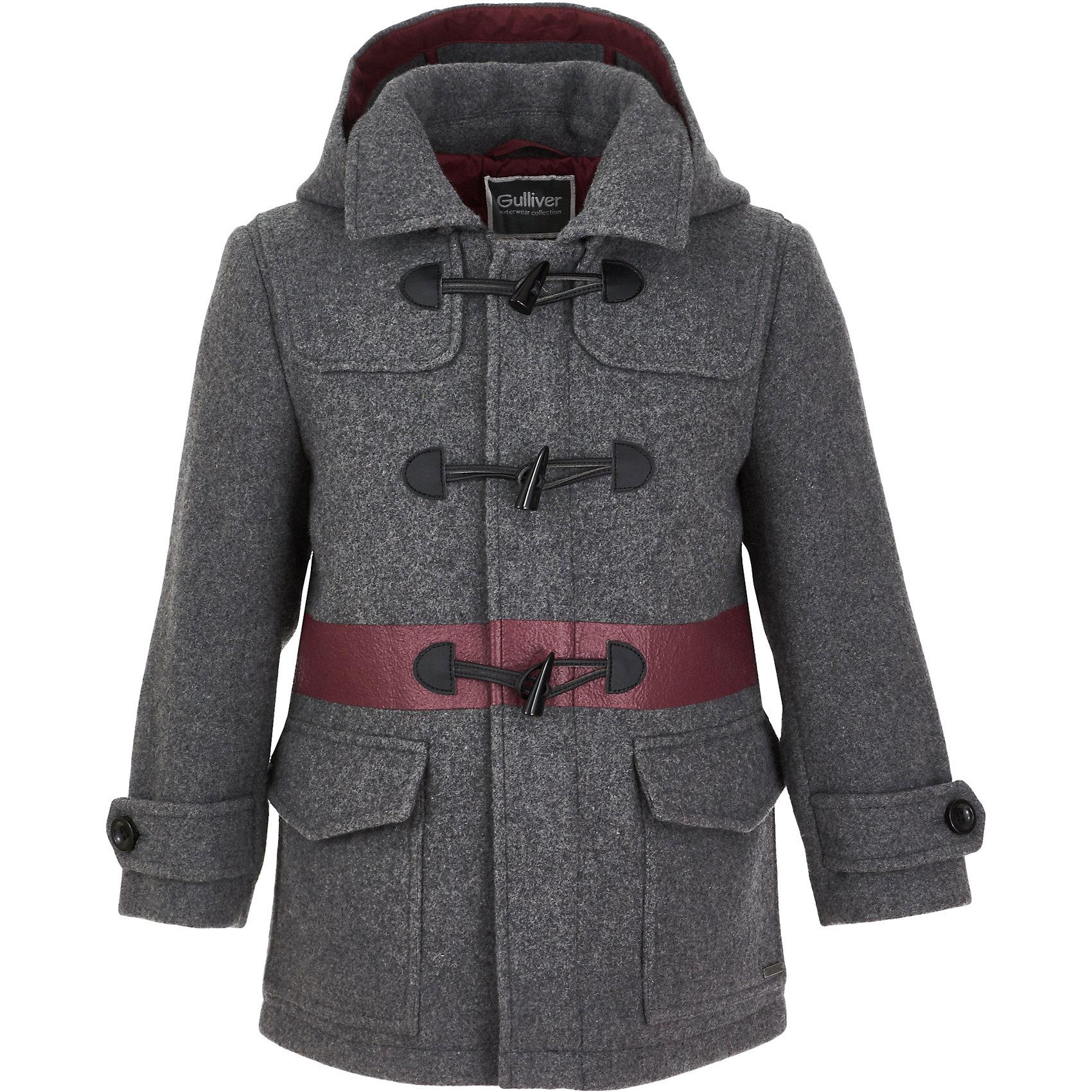 Пальто Gulliver для мальчикаВерхняя одежда<br>Пальто Gulliver для мальчика<br>Пальто - тренд сезона Осень/Зима 2017/2018. И что бы не говорили любители практичных и функциональных вещей, ни одна куртка не заменит пальто, ведь пальто - олицетворение элегантности и шика! Для любителей спортивного стиля, пальто не является предметом первой необходимости, но для настоящих джентльменов, пальто - основной акцент осеннего гардероба. В оформлении модели использованы модные пуговицы с навесными петлями, а также эффектная цветная полоса, выполненная в технике принта. Эти детали делают детское пальто необычным, новым, интересным. Купить серое пальто для мальчика с оригинальной отделкой, значит, сделать его повседневный гардероб стильным и комфортным.<br>Состав:<br>верх: 50% шерсть 50% полиэстер; подкладка: 100% полиэстер<br><br>Ширина мм: 356<br>Глубина мм: 10<br>Высота мм: 245<br>Вес г: 519<br>Цвет: серый<br>Возраст от месяцев: 24<br>Возраст до месяцев: 36<br>Пол: Мужской<br>Возраст: Детский<br>Размер: 98,116,110,104<br>SKU: 7078618