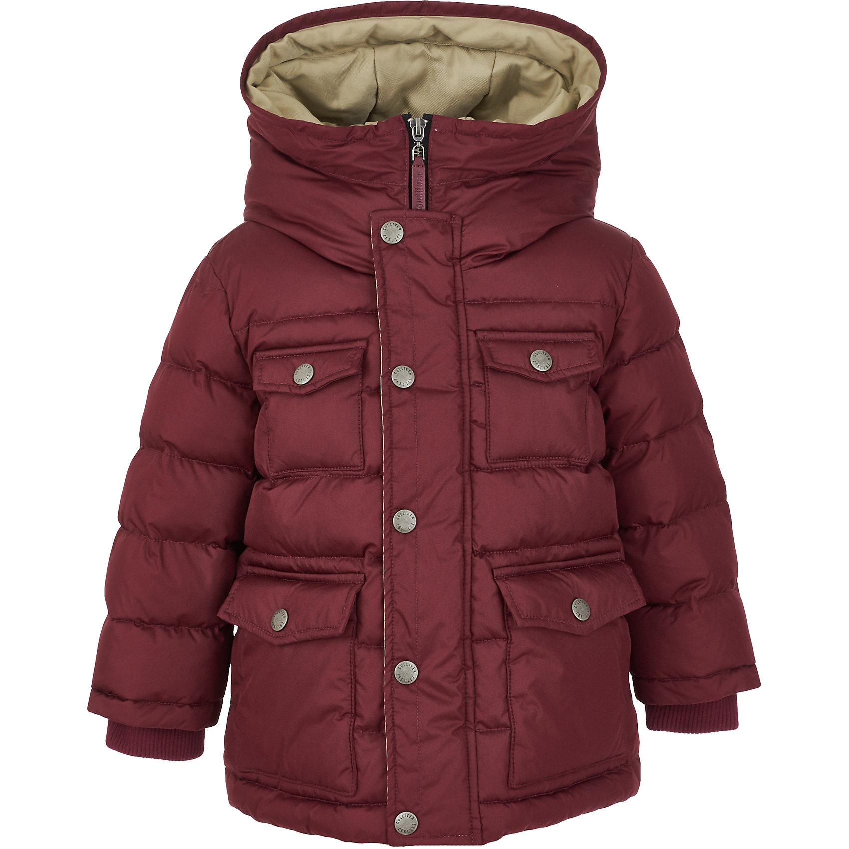 Полупальто Gulliver для мальчикаВерхняя одежда<br>Полупальто Gulliver для мальчика<br>Какими должны быть куртки для мальчиков? Модными или практичными, красивыми или функциональными? Отправляясь на шопинг, мамы мальчиков должны ответить на эти непростые вопросы. Куртка из коллекции Воздушная регата упрощает задачу, потому что сочетает в себе все лучшие характеристики детских курток для мальчиков. Модная форма, комфортная длина, комбинация фактур, множество интересных функциональных и декоративных деталей делают куртку яркой и привлекательной. Эта куртка с контрастной отделкой подарит своему обладателю прекрасный внешний вид, удобство и индивидуальность. Если вы решили купить модную детскую куртку, эта модель - достойный выбор!<br>Состав:<br>верх: 100% полиэстер;  подкладка: 100% хлопок; утеплитель: иск.пух 100% полиэстер<br><br>Ширина мм: 356<br>Глубина мм: 10<br>Высота мм: 245<br>Вес г: 519<br>Цвет: бордовый<br>Возраст от месяцев: 60<br>Возраст до месяцев: 72<br>Пол: Мужской<br>Возраст: Детский<br>Размер: 116,98,104,110<br>SKU: 7078623