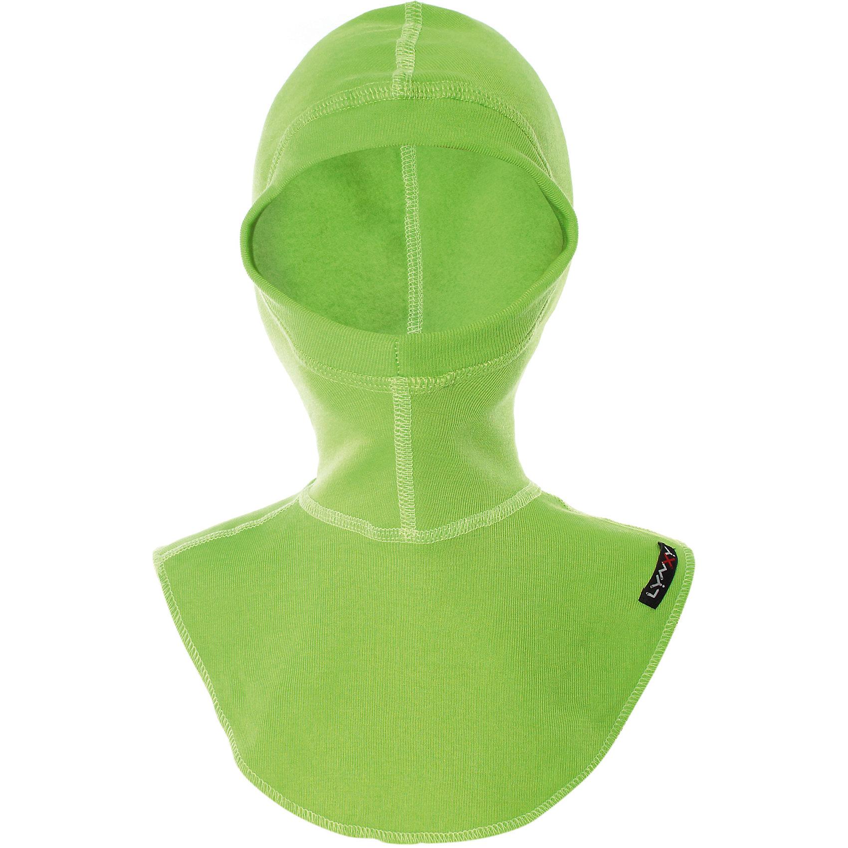 Шапка-шлем LynxyГоловные уборы<br>Детский подшлемник выполнен из мягкого термополотна Trevira с микроначесом с изнаночной стороны. Благодаря эластичному и мягкому полотну приятно к телу, плоские швы и эргономические лекала обеспечивают комфортное прилегание изделия. Идеально сохраняет тепло и выводит влагу, позволяя коже оставаться сухой. Благодаря присутствию ионов серебра в структуре полотна, имеет противомикробные свойства. Идеально подходит для длительных прогулок и активных занятий спортом в холодное время года до - 30 градусов. Рекомендуется деликатная машинная стирка при температуре 40 градусов без предварительного замачивания.<br>Состав:<br>полиэстер 95%, вискоза 5%<br><br>Ширина мм: 89<br>Глубина мм: 117<br>Высота мм: 44<br>Вес г: 155<br>Цвет: зеленый<br>Возраст от месяцев: 96<br>Возраст до месяцев: 120<br>Пол: Унисекс<br>Возраст: Детский<br>Размер: 56,52,54<br>SKU: 7079782
