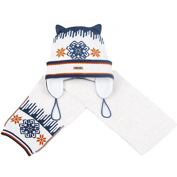 Комплект: шапка и шарф GakkardШарфы, платки<br>Характеристики товара:<br><br>• цвет: белый<br>• комплектация: шапка и шарф<br>• состав: 50% натуральная шерсть мериноса, 30% натуральный лен, 20% ПАН<br>• сезон: зима<br>• температурный режим: от -15 до +5 <br>• застежка: нет<br>• страна бренда: Россия<br>• страна производства: Россия<br><br>Теплые шапка и шарф для ребенка отличаются удобством и отличным качеством. Комплект сделан из мягкой пряжи с добавлением натуральной шерсти мериноса. Эти вязаные шарф и шапка разработаны специально для детей. <br><br>Комплект: шапка и шарф Gakkard (Жаккард) можно купить в нашем интернет-магазине.<br>Ширина мм: 89; Глубина мм: 117; Высота мм: 44; Вес г: 155; Цвет: бежевый; Возраст от месяцев: 72; Возраст до месяцев: 84; Пол: Унисекс; Возраст: Детский; Размер: 54,52,50,48,46,44,56; SKU: 7085842;