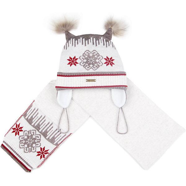 Комплект: шапка и шарф GakkardШапочки<br>Характеристики товара:<br><br>• цвет: белый<br>• комплектация: шапка и шарф<br>• состав: 50% натуральная шерсть мериноса, 30% натуральный лен, 20% ПАН<br>• сезон: зима<br>• температурный режим: от -15 до +5 <br>• застежка: нет<br>• страна бренда: Россия<br>• страна производства: Россия<br><br>Теплые шапка и шарф для ребенка отличаются удобством и отличным качеством. Комплект сделан из мягкой пряжи с добавлением натуральной шерсти мериноса. Эти вязаные шарф и шапка разработаны специально для детей. <br><br>Комплект: шапка и шарф Gakkard (Жаккард) можно купить в нашем интернет-магазине.<br>Ширина мм: 89; Глубина мм: 117; Высота мм: 44; Вес г: 155; Цвет: бежевый; Возраст от месяцев: 96; Возраст до месяцев: 120; Пол: Унисекс; Возраст: Детский; Размер: 56,44,46,48,50,52,54; SKU: 7086061;