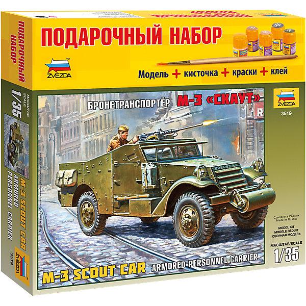 Сборная модель Звезда БТР М3 Скаут, 1:35 (подарочный набор)Автомобили<br>Характеристики:<br><br>• возраст: от 8 лет;<br>• тип игрушки: сборная модель;<br>• масштаб: 1:35;<br>• количество деталей: 256;<br>• размер: 30.6x27.6x5 см; <br>• высота: 22,6 см;<br>• комплект: детали для сборки, клей, кисточка, базовые краски;<br>• материал: пластик;<br>• бренд: Звезда;<br>• упаковка: картонная коробка;<br>• страна производитель: Россия.<br><br>Сборная модель от бренда Звезда «БТР М3 Скаут» окажется увлекательной и познавательной игрой для ребенка старше 8 лет. Сборка заставляет сосредоточиться и проявить усидчивость. Набор станет отличным подарком для любого коллекционера моделей военной техники. <br><br>Кроме самой сборной модели в наборе есть еще и краски с подставкой, клей и кисть. Данную модель от ее аналогов отличает низкая цена, а так же в достаточной мере проработанные ходовая часть и подвеска. Возможность сборки в двух вариантах с открытыми и закрытыми бронелистами лобового стекла и проемов дверей. Качественно выполнены интерьер с сидениями, управление и приборная панель. Пулеметы, топливные баки, фурнитура ЗИП выполнены очень детализировано. <br><br>Разведывательная машина М-3, разработанная американской фирмой «Уайт», имела привод на все четыре колеса и бронированный кузов, в котором размещались 6 пехотинцев, три пулемета и радиостанция. Около 3500 этих машин было поставлено по ленд-лизу в СССР. В основном они применялись для разведывательных операций и для транспортировки штурмовых групп.<br><br>Сборную модель от бренда Звезда «БТР М3 Скаут» можно купить в нашем интернет-магазине.<br><br>Ширина мм: 306<br>Глубина мм: 50<br>Высота мм: 276<br>Вес г: 580<br>Возраст от месяцев: 36<br>Возраст до месяцев: 180<br>Пол: Мужской<br>Возраст: Детский<br>SKU: 7086385