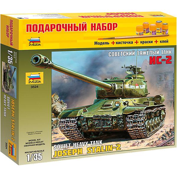 Сборная модель Звезда Советский танк Ис-2, 1:35 (подарочный набор)Военная техника и панорама<br>Характеристики:<br><br>• возраст: от 8 лет;<br>• тип игрушки: сборная модель танка;<br>• количество деталей: 196;<br>•вес: 700 гр;<br>• масштаб: 1:35<br>• размер: 6?34?31 см<br>• материал: пластик;<br>• бренд: Звезда;<br>• упаковка: подарочная коробка;<br>• страна производитель: Россия.<br><br>Сборная модель Звезда «Советский танк Ис-2»  – это подарочный набор, который состоит из множества деталей в количестве 196 штук, клея, кисточек и красок. Такой комплект позволит создать копию легендарного охотника на немецких «Тигров». Аббревиатура означает «Иосиф Сталин». Размер корпуса в масштабе 1:35 составит 27 сантиметров. Башня поворачивается, люк открывается, что делает модель еще интереснее. <br><br>Модель воссоздается с высокой точностью, танк получается очень реалистичный. Детали модели соединяются клеем и окрашиваются специальными красками. Используемые краски для данной модели  МАКР или АКР: 8 вороненая сталь, 17 белый, 55 защитный, 57 охра.<br><br>Сборную модель Звезда «Советский танк Ис-2» можно купить в нашем интернет-магазине.<br><br>Ширина мм: 348<br>Глубина мм: 60<br>Высота мм: 315<br>Вес г: 730<br>Возраст от месяцев: 36<br>Возраст до месяцев: 180<br>Пол: Мужской<br>Возраст: Детский<br>SKU: 7086388