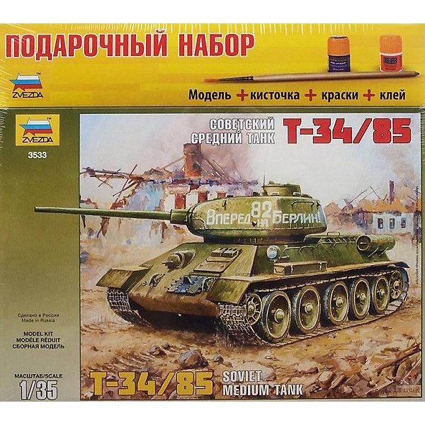Сборная модель Звезда Советский танк Т-34/85, 1:35 (подарочный набор)Модели для склеивания<br>Набор подарочный-сборка Советский танк Т-34/85 (Россия)<br><br>Ширина мм: 348<br>Глубина мм: 60<br>Высота мм: 315<br>Вес г: 770<br>Возраст от месяцев: 36<br>Возраст до месяцев: 180<br>Пол: Мужской<br>Возраст: Детский<br>SKU: 7086395