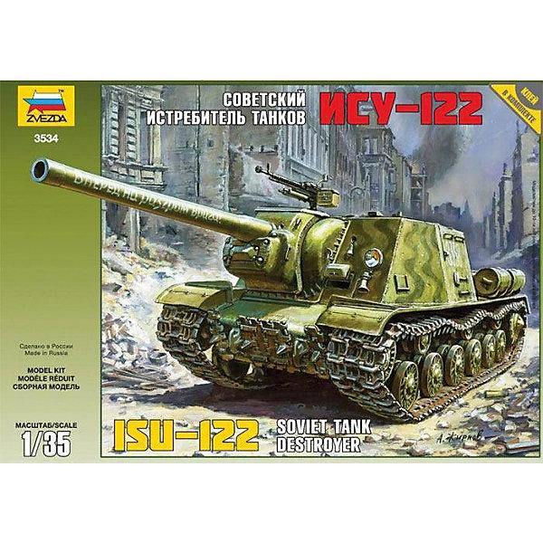 Сборная модель Звезда Советский истребитель танков ИСУ-122, 1:35Военная техника и панорама<br>Характеристики:<br><br>• возраст: от 8 лет;<br>• тип игрушки: сборная модель танка;<br>• количество деталей: 194;<br>• масштаб: 1:35;<br>• размер: 25х35х6 см;<br>• длина собранной модели: 13 см;<br>• материал: пластик;<br>• бренд: Звезда;<br>• упаковка: подарочная коробка;<br>• страна производитель: Россия.<br><br>Сборная модель Звезда «Советский истребитель танков ИСУ-122» окажется увлекательной и познавательной игрой для мальчика старше 8 лет.  Советский истребитель танков ИСУ-122 был разработан в декабре 1943 года и взят на вооружение 12 марта 1944. Он был сделан на основе тяжелого танка ИС-2. Использовали ИСУ-122 для уничтожения вражеских танков и прорыва фортификационных линий. <br><br>С помощью модели для склеивания от компании «Звезда» вы можете воспроизвести известную боевую машину, принимавшую участие в Великой Отечественной войне. Модель выглядит максимально реалистично, и пользуется популярностью у моделистов. Набор подойдет как для самостоятельного сбора с детьми, так и для совместного с родителями. Все материалы качественные и безопасные. <br><br>Сборную модель Звезда «Советский истребитель танков ИСУ-122»  можно купить в нашем интернет-магазине.<br>Ширина мм: 242; Глубина мм: 345; Высота мм: 60; Вес г: 230; Возраст от месяцев: 36; Возраст до месяцев: 180; Пол: Мужской; Возраст: Детский; SKU: 7086396;