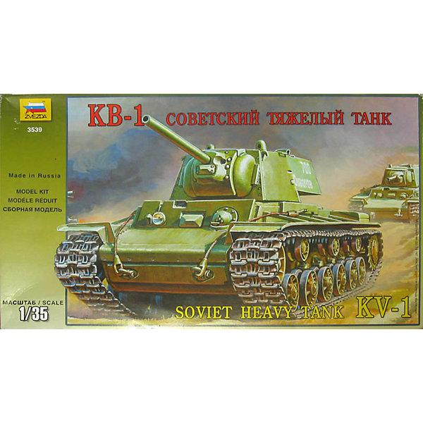 Сборная модель Звезда Тяжелый совесткий танк КВ-1, 1:35Военная техника и панорама<br>Характеристики товара: <br><br>• возраст: от 8 лет;<br>• материал: пластик;<br>• в комплекте: 233 детали;<br>• масштаб: 1:35;<br>• размер собранной модели: 19 см;<br>• размер упаковки: 24х40х7 см;<br>• вес упаковки: 700 гр.;<br>• страна производитель: Россия.<br><br>Сборная модель Звезда «Тяжелый советский танк КВ-1» позволит собрать из деталей уменьшенную копию советского тяжелого танка времен Великой Отечественной войны.<br><br>Сборные модели от компании Звезда отличаются высокой степенью детализации и позволяют собирать модели многих популярных видов военной техники. В процессе сборки ребенок расширяет свой кругозор, знакомится с видами техники и историческими фактами, развивает усидчивость, внимательность, аккуратность.<br><br>Сборную модель Звезда «Тяжелый советский танк КВ-1» можно приобрести в нашем интернет-магазине.<br><br>Ширина мм: 400<br>Глубина мм: 70<br>Высота мм: 242<br>Вес г: 480<br>Возраст от месяцев: 36<br>Возраст до месяцев: 180<br>Пол: Мужской<br>Возраст: Детский<br>SKU: 7086400
