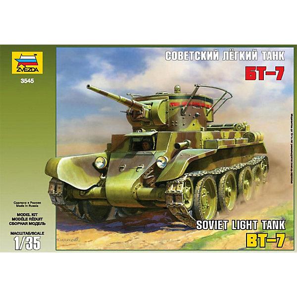 Сборная модель Звезда Советский легкий танк БТ-7, 1:35Военная техника и панорама<br>Характеристики:<br><br>• возраст: от 8 лет;<br>• тип игрушки: сборная модель;<br>• масштаб: 1:35;<br>• материал: пластик;<br>• бренд: Звезда;<br>• длинна: 16 см;<br>• размер: 34х6х24 см;<br>• упаковка: картонная коробка;<br>• страна производитель: Россия.<br><br>Сборная модель от бренда Звезда «Советский легкий танк БТ-7» окажется увлекательной и познавательной игрой для ребенка старше 8 лет. Сборка заставляет сосредоточиться и проявить усидчивость. Набор станет отличным подарком для любого коллекционера моделей военной техники.<br><br>Танк был разработан и запущен в производство в 1935 году, участвовал в сражении на Халкин-голе и многих битвах Великой Отечественной Войны (Битва за Москву, Сталинградская и др.).<br>Масштаб детализированной модели – 1:35. Длина собранного танка составляет 16 см. Для сборки модели необходимо дополнительно приобрести специальный клей от торговой марки «Звезда». Так же готовый танк можно при желании раскрасить красками (в комплект не входят).<br><br>Весь комплект изготовлен из пластика высокого качества. Элементы набора окрашены безопасными нетоксичными красителями. Так же в комплекте есть подробная инструкция по сборке.<br><br>Сборную модель от бренда Звезда «Советский легкий танк БТ-7» можно купить в нашем интернет-магазине.<br>Ширина мм: 350; Глубина мм: 240; Высота мм: 60; Вес г: 220; Возраст от месяцев: 36; Возраст до месяцев: 180; Пол: Мужской; Возраст: Детский; SKU: 7086403;