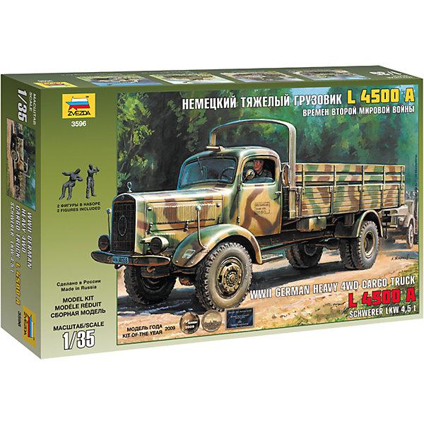 Сборная модель Звезда Немецкий тяжелый грузовик L4500A, 1:35Военная техника и панорама<br>Характеристики:<br><br>• возраст: от 10 лет;<br>• тип игрушки: сборная модель;<br>• масштаб: 1:35;<br>• количество деталей: 274;<br>• размер: 34.5x24.2x6 см; <br>• высота: 22,6 см;<br>• материал: пластик, дерево;<br>• бренд: Звезда;<br>• упаковка: картонная коробка;<br>• страна производитель: Россия.<br><br>Сборная модель от бренда Звезда «Немецкий тяжелый грузовик» окажется увлекательной и познавательной игрой для ребенка старше 10 лет. Сборка заставляет сосредоточиться и проявить усидчивость. <br><br>Модель сборная привлечет внимание не только ребенка, но и взрослого и позволит своими руками создать уменьшенную копию боевой машины. Данная модель продолжает линейку грузовых автомобилей L 4500 A. В данном варианте грузовик представлен с деревянной кабиной и укороченными бортами кузова.<br><br>Сборную модель от бренда Звезда «Немецкий тяжелый грузовик» можно купить в нашем интернет-магазине.<br>Ширина мм: 400; Глубина мм: 70; Высота мм: 242; Вес г: 430; Возраст от месяцев: 36; Возраст до месяцев: 180; Пол: Мужской; Возраст: Детский; SKU: 7086413;
