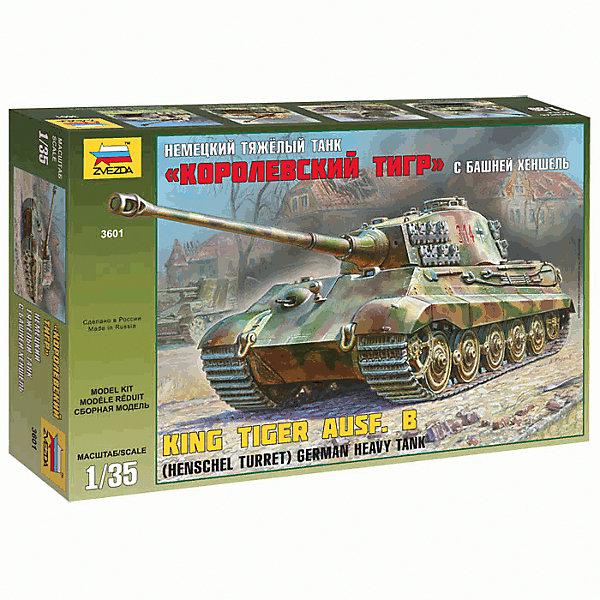 Сборная модель Звезда Немецкий тяжелый танк Королевский тигр с башней Хеншеля, 1:35Военная техника и панорама<br>Характеристики:<br><br>• возраст: от 8 лет;<br>• тип игрушки: сборная модель;<br>• масштаб: 1:35;<br>• количество деталей: 423;<br>• размер: 24х34х10 см; <br>• комплект: детали, инструкция по сборке;<br>• материал: пластик;<br>• высота: 30 см;<br>• бренд: Звезда;<br>• упаковка: картонная коробка;<br>• страна производитель: Россия.<br><br>Сборная модель от бренда Звезда «Немецкий тяжелый танк Королевский тигр с башней Хеншеля» окажется увлекательной и познавательной игрой для ребенка старше 8 лет. Сборка заставляет сосредоточиться и проявить усидчивость. Набор станет отличным подарком для любого коллекционера моделей военной техники.<br><br>«Королевский тигр» - самый тяжелый серийный танк, который когда-либо участвовал во Второй мировой войне. Данная миниатюрная модель является почти точной копией оригинала. Она выполнена с большим вниманием к проработке мелких элементов. Собранная модель займет достойное место на полке, украсив и разнообразив интерьер дома. У данного танка было мощнейшее 88-мм орудие, которое даже с 3.5 километров пробивало броню американских «Шерманов».<br> <br> Сборную модель от бренда Звезда «Немецкий тяжелый танк Королевский тигр с башней Хеншеля» можно купить в нашем интернет-магазине.<br>Ширина мм: 487; Глубина мм: 307; Высота мм: 85; Вес г: 370; Возраст от месяцев: 36; Возраст до месяцев: 180; Пол: Мужской; Возраст: Детский; SKU: 7086416;