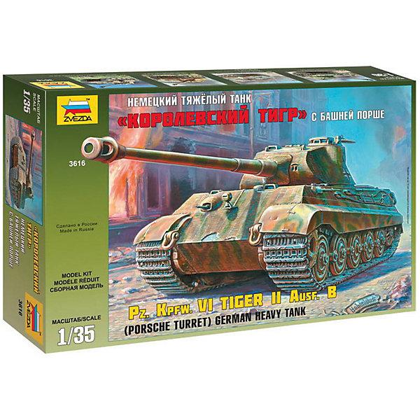 Сборная модель Звезда Немецкий танк Королевский тигр с башней Порше, 1:35Военная техника и панорама<br>Характеристики:<br><br>• возраст: от 7 лет;<br>• тип игрушки: сборная модель;<br>• масштаб: 1:35;<br>• размеры: 40x7x24.2 см;<br>• количество деталей: 423;<br>• комплект: детали для сборки, 17 отливок, декаль;<br>• материал: пластик;<br>• высота: 30 см;<br>• бренд: Звезда;<br>• упаковка: картонная коробка;<br>• страна производитель: Россия.<br><br>Сборная модель от бренда Звезда «Немецкий танк Королевский тигр с башней Порше» окажется увлекательной и познавательной игрой для ребенка старше 7 лет. Сборка заставляет сосредоточиться и проявить усидчивость. Набор станет отличным подарком для любого коллекционера моделей военной техники.<br><br>Данная сборная модель представляет собой самый тяжелый танк серийного производства времен Второй мировой войны. Поделка отличается большим сходством со своим реальным прототипом.  Сборка осуществляется с помощью клея, который приобретается отдельно. Готовую модель можно раскрасить красками, которые можно приобрести отдельно для того, чтобы придать ей более реалистичный вид.<br><br>Сборную модель от бренда Звезда «Немецкий танк Королевский тигр с башней Порше» можно купить в нашем интернет-магазине.<br>Ширина мм: 400; Глубина мм: 242; Высота мм: 70; Вес г: 690; Возраст от месяцев: 36; Возраст до месяцев: 180; Пол: Мужской; Возраст: Детский; SKU: 7086420;