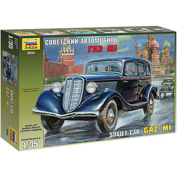 Сборная модель Звезда Советский автомобиль ГАЗ М1, 1:35Военная техника и панорама<br>Характеристики:<br><br>• возраст: от 8 лет;<br>• тип игрушки: сборная модель;<br>• масштаб: 1:35;<br>• материал: пластик; <br>• бренд: Звезда;<br>• размер: 24х34х6 см;<br>• упаковка: картонная коробка;<br>• страна производитель: Россия.<br><br>Сборная модель от бренда Звезда «Советский автомобиль ГАЗ М1» окажется увлекательной и познавательной игрой для ребенка старше 8 лет. Сборка заставляет сосредоточиться и проявить усидчивость. Набор станет отличным подарком для любого коллекционера моделей техники.<br><br>Это автомобиль, который в народе назывался «эмка», потому что выпускался на Горьковском автозаводе с 1936 по 1943 годы, который в то время назывался Автозавод имени Молотова. Прототип для создания автомашины- автомобиль марки Ford Model B 40A Fordor Sedan 1934 года, мотор с 4 цилиндрами.<br><br>Масштаб модели – 1:35. Длина собранного автомобиля – 13 см. Для сборки модели необходимо дополнительно приобрести специальный клей от торговой марки «Звезда».<br><br>Двери и капот машины можно открывать, чтобы рассматривать салон и устройство двигателя. Готовый автомобиль можно при желании раскрасить красками (в комплект не входят). Комплект изготовлен из пластика высокого качества. Элементы набора окрашены безопасными нетоксичными красителями. Все детали прошли проверку качества и соответствуют всем требованиям, которые предъявляются к детским игрушкам. В комплекте есть подробная инструкция по сборке.<br><br>Сборную модель от бренда Звезда «Советский автомобиль ГАЗ М1» можно купить в нашем интернет-магазине.<br>Ширина мм: 345; Глубина мм: 242; Высота мм: 60; Вес г: 310; Возраст от месяцев: 36; Возраст до месяцев: 180; Пол: Мужской; Возраст: Детский; SKU: 7086424;