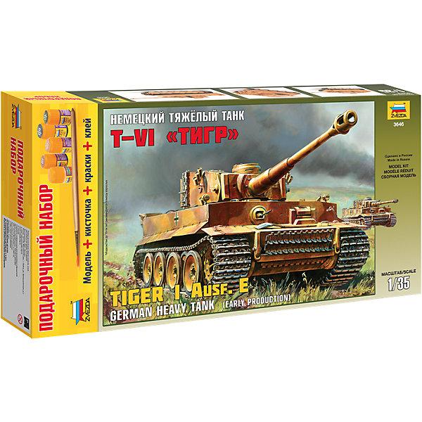 Сборная модель Звезда Немецкий тяжелый танк Т-VI Тигр, 1:35 (подарочный набор)Военная техника и панорама<br>Характеристики:<br><br>• возраст: от 7 лет;<br>• тип игрушки: сборная модель;<br>• масштаб: 1:35;<br>• количество деталей: 335;<br>• размер: 47x24.2x7см; <br>• комплект: элементы для сборки, подставка, инструкция;<br>• материал: пластик;<br>• высота: 24, 1 см;<br>• бренд: Звезда;<br>• упаковка: картонная коробка;<br>• страна производитель: Россия.<br><br>Сборная модель от бренда Звезда «Немецкий тяжелый танк Т-VI Тигр» окажется увлекательной и познавательной игрой для ребенка старше 7 лет. Сборка заставляет сосредоточиться и проявить усидчивость. Набор станет отличным подарком для любого коллекционера моделей военной техники.<br><br>Модель создавалась при участии ведущих экспертов и с использованием новейших технологий. Применено уникальное решение для гусениц - они сочетают в себе высочайшую детализацию и легкость сборки. Модель по качеству не уступает лучшим мировым аналогам, но значительно привлекательнее по цене. Набор включает 335 пластмассовых элементов и аксессуаров, которые необходимо соединить, используя клей, а затем раскрасить.<br><br> Сборную модель от бренда Звезда «Немецкий тяжелый танк Т-VI Тигр» можно купить в нашем интернет-магазине.<br>Ширина мм: 470; Глубина мм: 245; Высота мм: 70; Вес г: 940; Возраст от месяцев: 36; Возраст до месяцев: 180; Пол: Мужской; Возраст: Детский; SKU: 7086427;