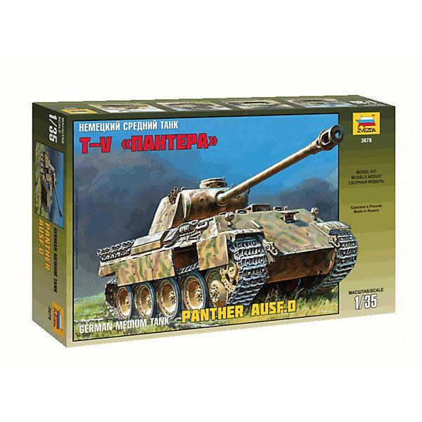 Сборная модель Звезда Немецкий средний танк Пантера, 1:35Военная техника и панорама<br>Характеристики:<br><br>• возраст: от 10 лет;<br>• тип игрушки: сборная модель;<br>• масштаб: 1:35;<br>• количество деталей: 698;<br>• размер: 40x7x24.2 см; <br>• высота: 24,7 см;<br>• комплект: детали для сборки, инструкция;<br>• материал: пластик;<br>• бренд: Звезда;<br>• упаковка: картонная коробка;<br>• страна производитель: Россия.<br><br>Сборная модель от бренда Звезда «Немецкий средний танк Пантера» окажется увлекательной и познавательной игрой для ребенка старше 10 лет. Сборка заставляет сосредоточиться и проявить усидчивость. Набор станет отличным подарком для любого коллекционера моделей военной техники.<br><br>Средний немецкий танк «Пантера» впервые был задействован в сражении, которое проходило на Курской Дуге. После чего танки данного класса воевали в других сражениях.Стоит отметить, что танк «Пантера» считается самым лучшим боевым транспортным средством Великой Отечественной Войны. У данной модели полностью наборные подвижные гусеницы. <br><br>После того, как танк будет собран, его можно раскрасить. Для прочности конструкции, собирая модель, детали лучше склеивать между собой. Но клей, краски и кисточки не предусмотрены в наборе.<br><br>Сборную модель от бренда Звезда «Немецкий средний танк Пантера» можно купить в нашем интернет-магазине.<br>Ширина мм: 400; Глубина мм: 242; Высота мм: 70; Вес г: 750; Возраст от месяцев: 36; Возраст до месяцев: 180; Пол: Мужской; Возраст: Детский; SKU: 7086435;