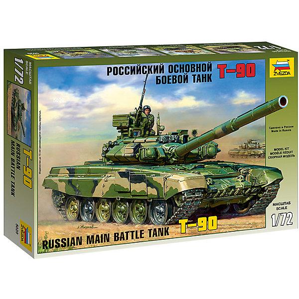 Сборная модель Звезда Российский основной боевой танк Т-90, 1:72Военная техника и панорама<br>Характеристики:<br><br>• возраст: от 10 лет;<br>• тип игрушки: сборная модель;<br>• масштаб: 1:72;<br>• количество деталей: 451;<br>• материал: пластик; <br>• размер: 34,5x6x24,2 см; <br>• бренд: Звезда;<br>• длинна: 24 см;<br>• упаковка: картонная коробка;<br>• страна производитель: Россия.<br><br>Сборная модель от бренда Звезда «Российский основной боевой танк Т-90» окажется увлекательной и познавательной игрой для ребенка старше 10 лет. Сборка заставляет сосредоточиться и проявить усидчивость. Набор станет отличным подарком для любого коллекционера моделей военной техники.<br><br>Российский боевой танк Т-90 был разработан инженерами нижнетагильского конструкторского  бюро «Уралвагонзавод» в 1989 году. Но только в 1993 году поступил на вооружение российской армии. Модель имела 125-мм пушку с повышенной точностью выстрела, мощную броню и плавный ход. Стоит также отметить, что танк может вести огонь снарядами и ракетами. Зарядка снарядом осуществляется в автоматическом режиме, со скоростью выстрела до 8 выстрелов в течении одной минуты.<br>Для прочности конструкции, собирая модель, детали лучше склеивать между собой. <br><br>После полной сборки модель можно раскрасить. Но клей, краски и кисточки не предусмотрены в наборе. Собрать модель можно по инструкции, которая представлена в комплекте. <br><br>Сборную модель от бренда Звезда «Российский основной боевой танк Т-90» можно купить в нашем интернет-магазине.<br>Ширина мм: 304; Глубина мм: 205; Высота мм: 50; Вес г: 250; Возраст от месяцев: 36; Возраст до месяцев: 180; Пол: Мужской; Возраст: Детский; SKU: 7086447;