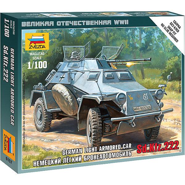 Сборная модель Звезда Немецкий бронеавтомобиль Sdkfr 222, 1:100 (сборка без клея)Военная техника и панорама<br>Характеристики товара: <br><br>• возраст: от 5 лет;<br>• материал: пластик;<br>• в комплекте: 18 деталей;<br>• масштаб: 1:100;<br>• размер собранной модели: 4,6 см;<br>• размер упаковки: 14х14,5х2 см;<br>• вес упаковки: 40 гр.;<br>• страна производитель: Россия.<br><br>Сборная модель Звезда «Немецкий бронеавтомобиль Sdkfr 222» позволит собрать из деталей уменьшенную копию известного немецкого бронеавтомобиля периода Великой Отечественной войны.<br><br>Сборные модели от компании Звезда отличаются высокой степенью детализации и позволяют собирать модели многих популярных видов военной техники. В процессе сборки ребенок расширяет свой кругозор, знакомится с видами техники и историческими фактами, развивает усидчивость, внимательность, аккуратность.<br><br>Сборную модель Звезда «Немецкий бронеавтомобиль Sdkfr 222» можно приобрести в нашем интернет-магазине.<br><br>Ширина мм: 120<br>Глубина мм: 145<br>Высота мм: 20<br>Вес г: 35<br>Возраст от месяцев: 36<br>Возраст до месяцев: 180<br>Пол: Мужской<br>Возраст: Детский<br>SKU: 7086467